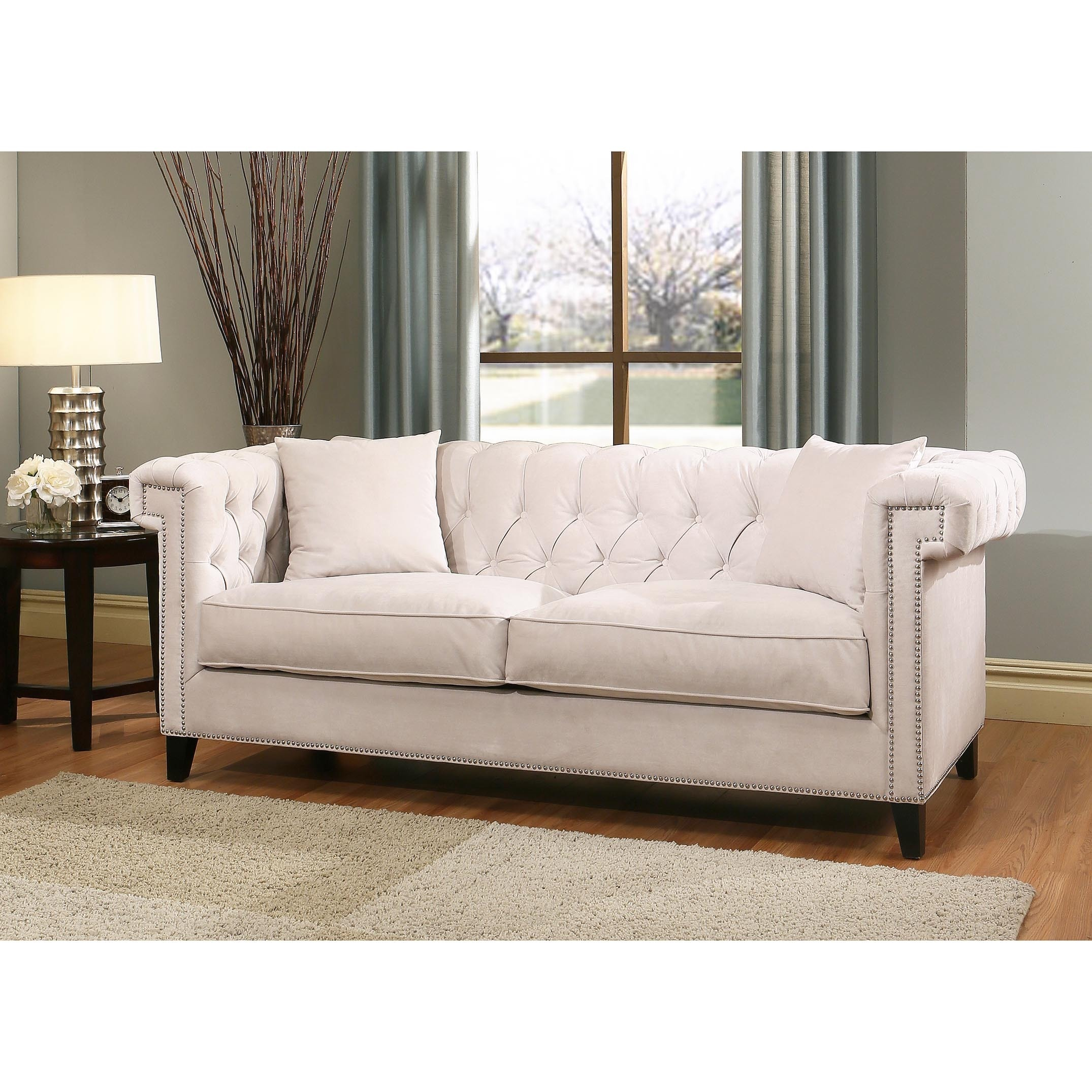 Shop Abbyson Victoria Ivory Velvet Sofa And Armchair Set   Free Shipping  Today   Overstock.com   12448932