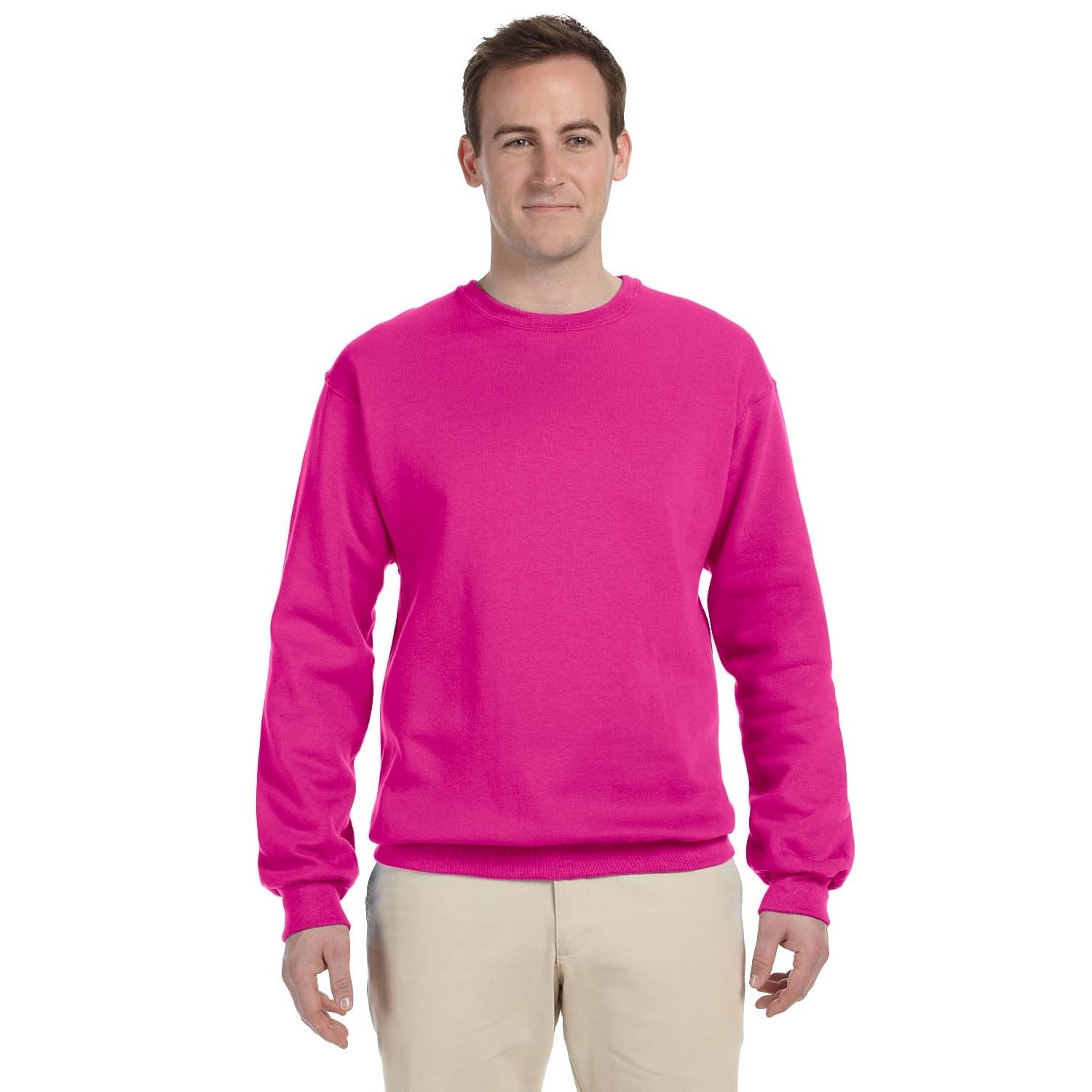 Mens Cyber Pink 5050 Fleece Big And Tall Crew Neck Sweater Free