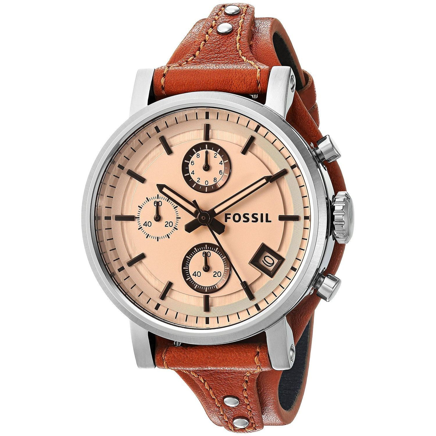 b0eeafe26 Shop Fossil Women's ES4046 'Original Boyfriend' Chronograph Brown Leather  Watch - Free Shipping Today - Overstock - 12450769