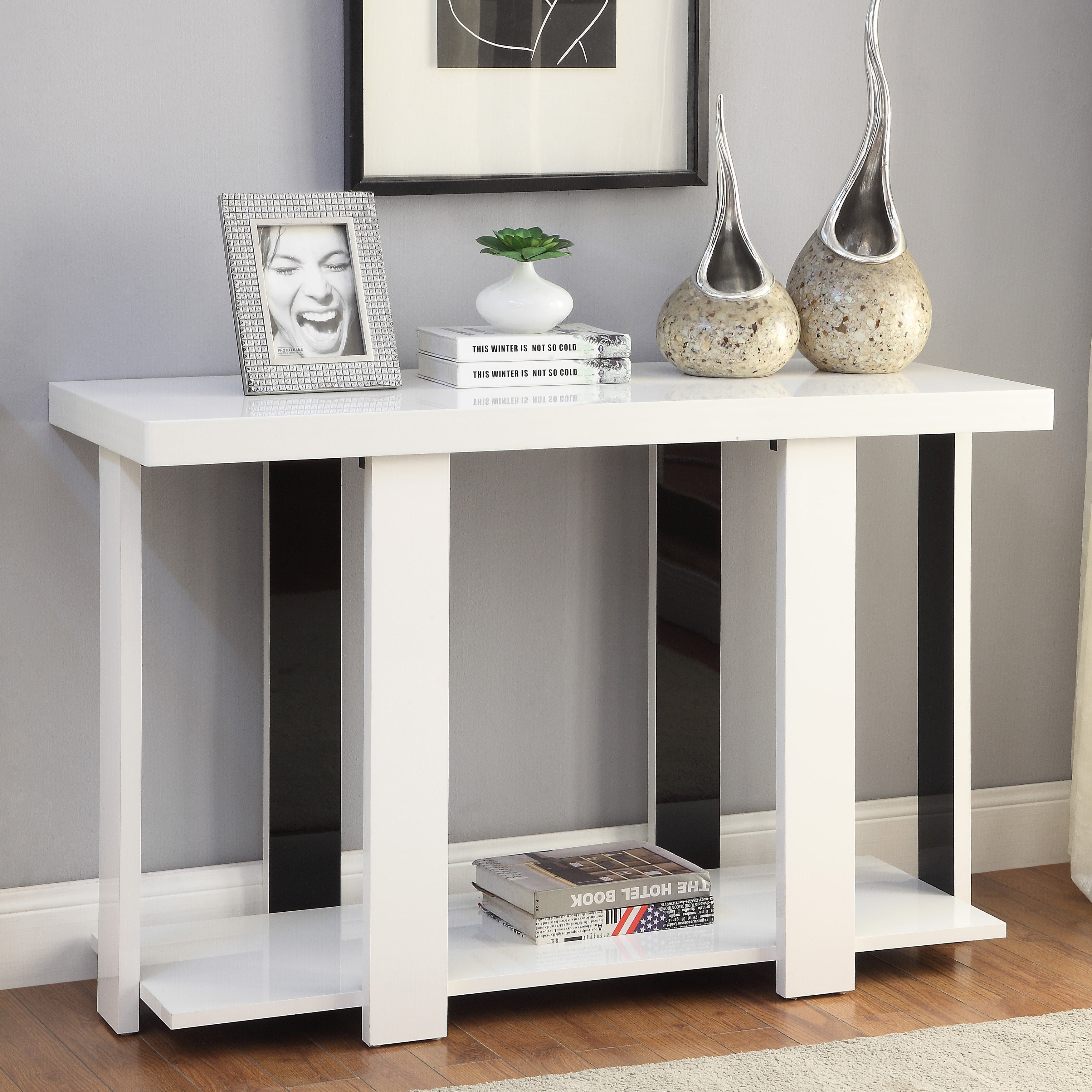 Furniture of america kennin modern high gloss two tone sofa table