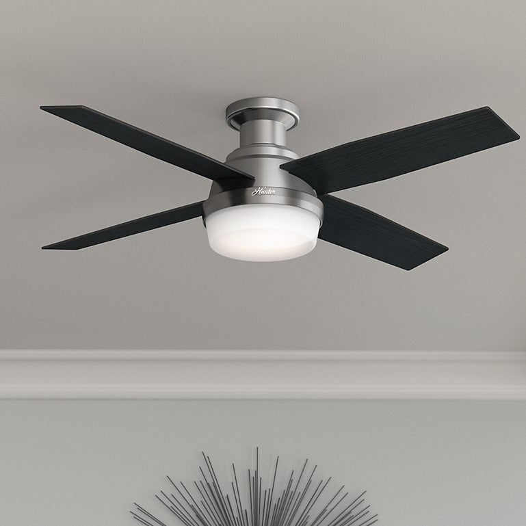 Shop hunter fan dempsey collection brushed nickel metal and glass 52 shop hunter fan dempsey collection brushed nickel metal and glass 52 inch low profile ceiling fan with 4 reversible blades silver free shipping today aloadofball Image collections
