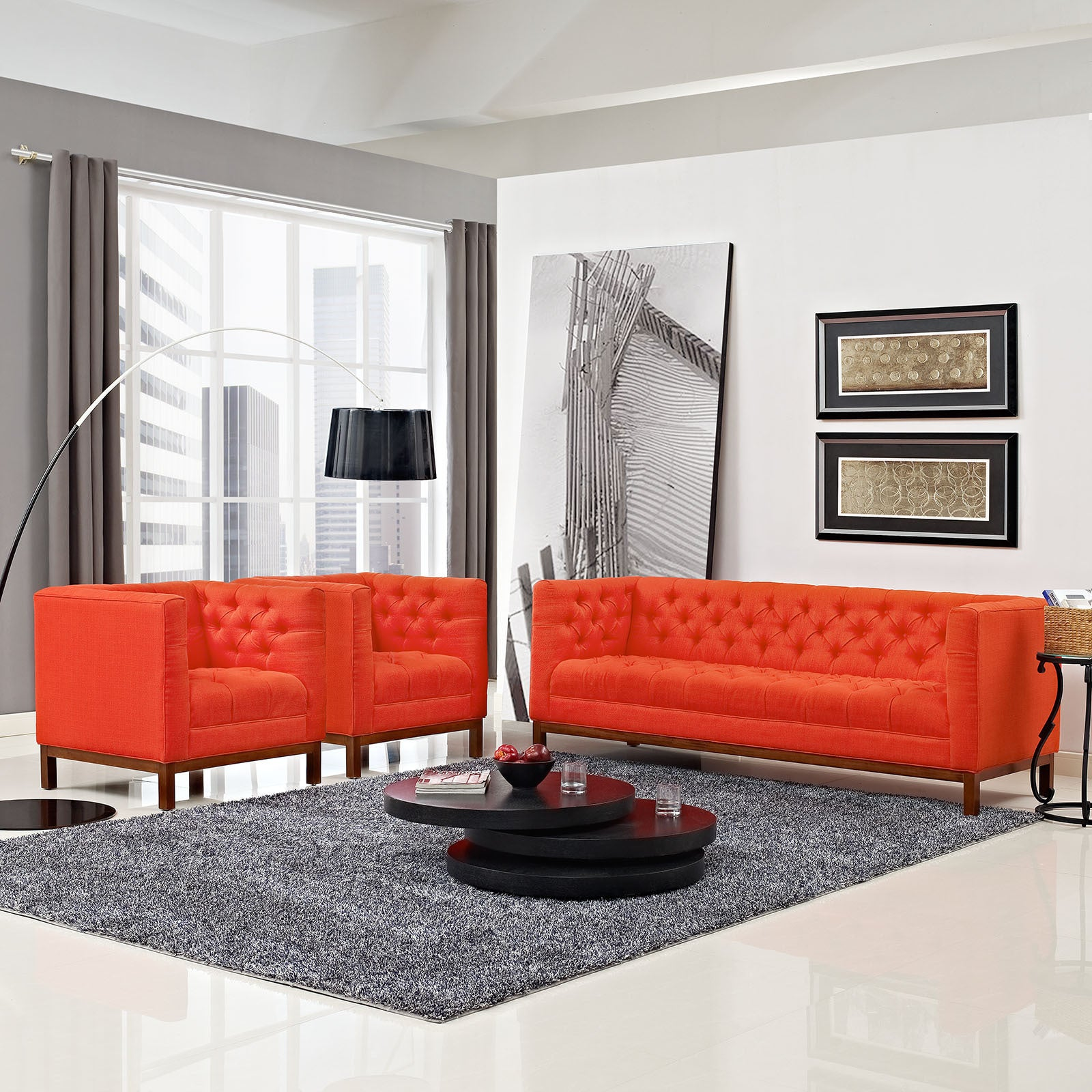Panache Tufted Fabric 3-piece Living Room Set - Free Shipping Today ...