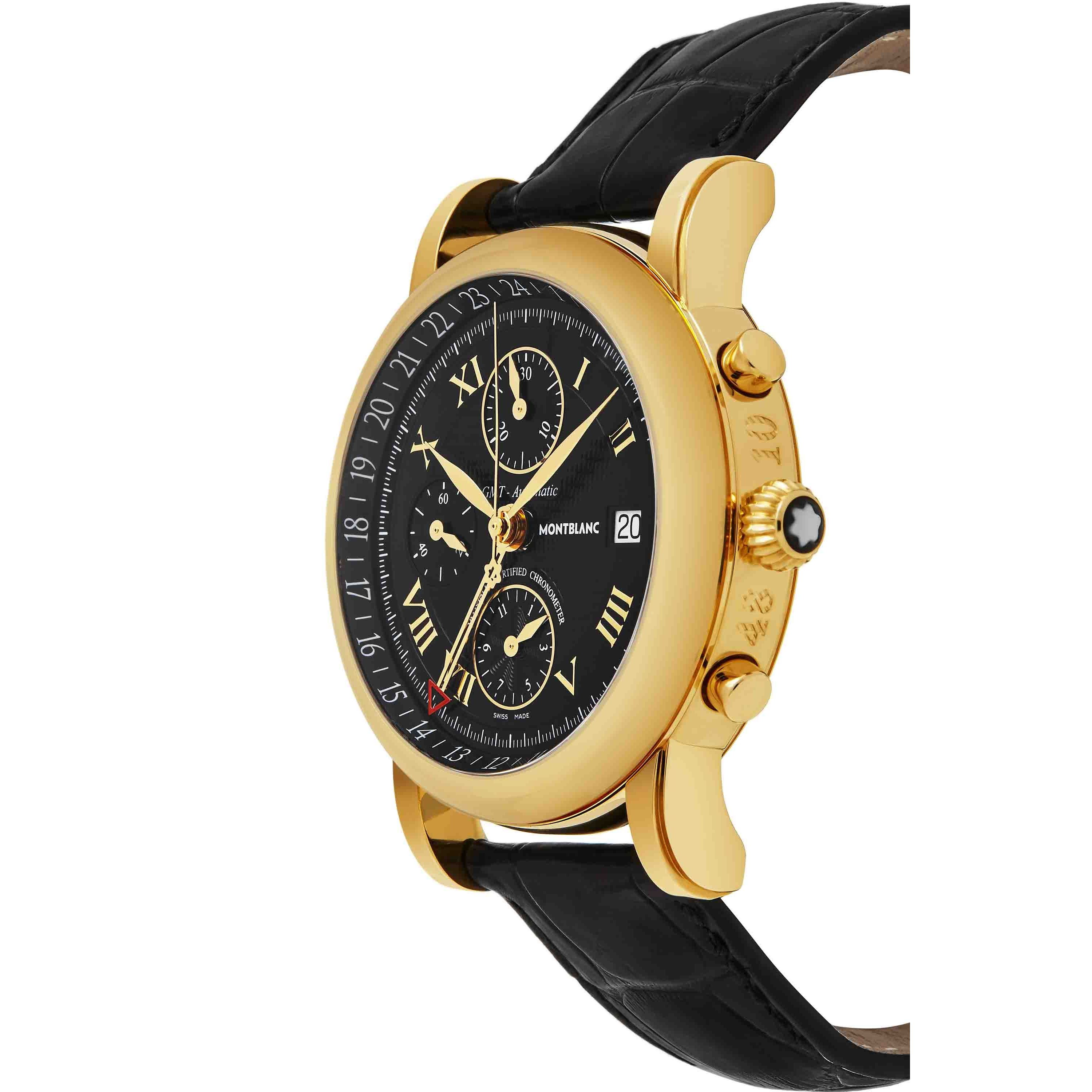 8116664ad63 Shop Mont Blanc Men's 'Star' Black Dial Black Leather Strap Yellow Gold  Chronograph Swiss Automatic Watch - Free Shipping Today - Overstock -  12468848