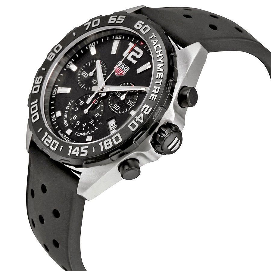 6586f10e583 Shop Tag Heuer Men s CAZ1010.FT8024  Formula One  Chronograph Black Rubber  Watch - Free Shipping Today - Overstock - 12485205