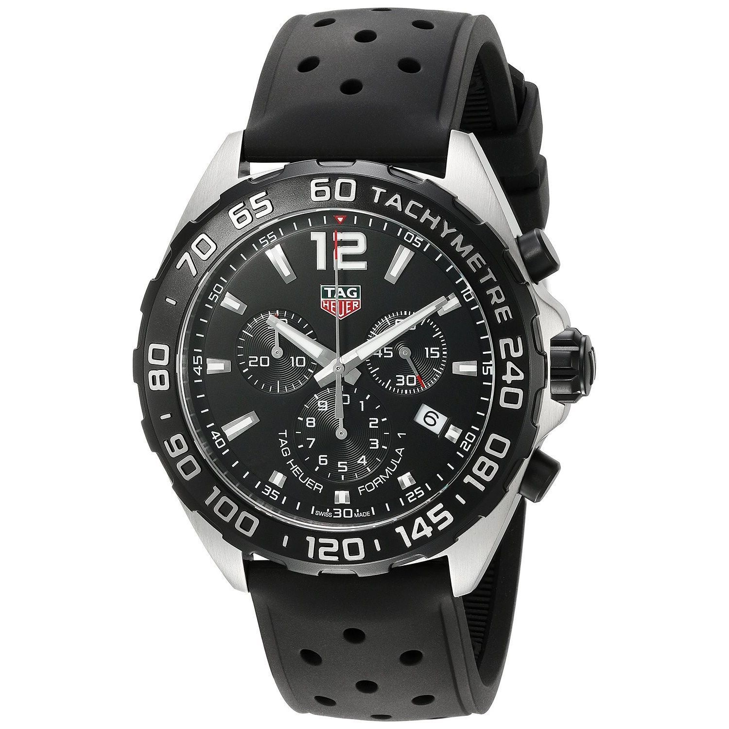5f91cfa8adc Shop Tag Heuer Men's CAZ1010.FT8024 'Formula One' Chronograph Black Rubber  Watch - Free Shipping Today - Overstock - 12485205