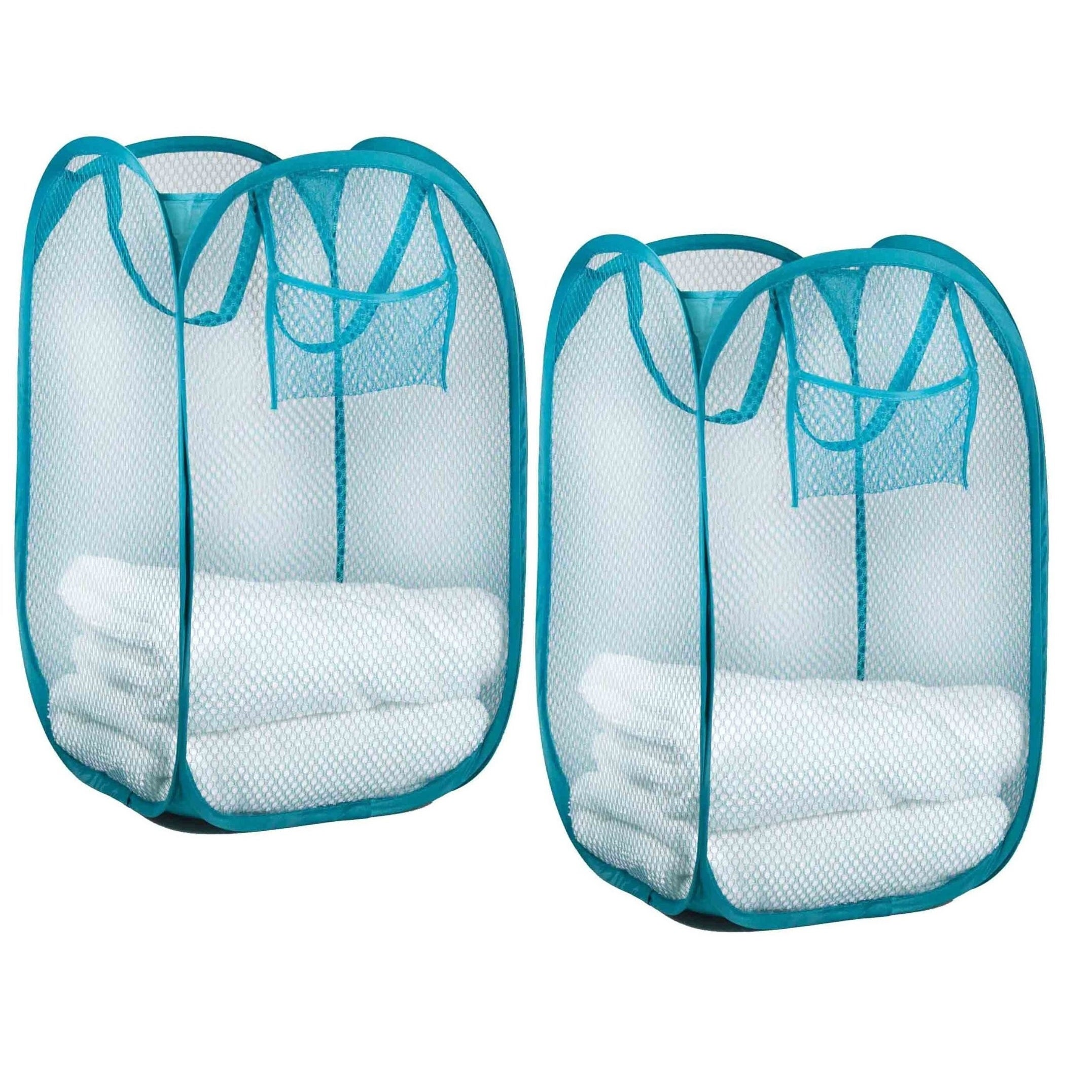 Sunbeam Nylon Mesh Pop-up Laundry Hamper with Carry Handles (Set of ...
