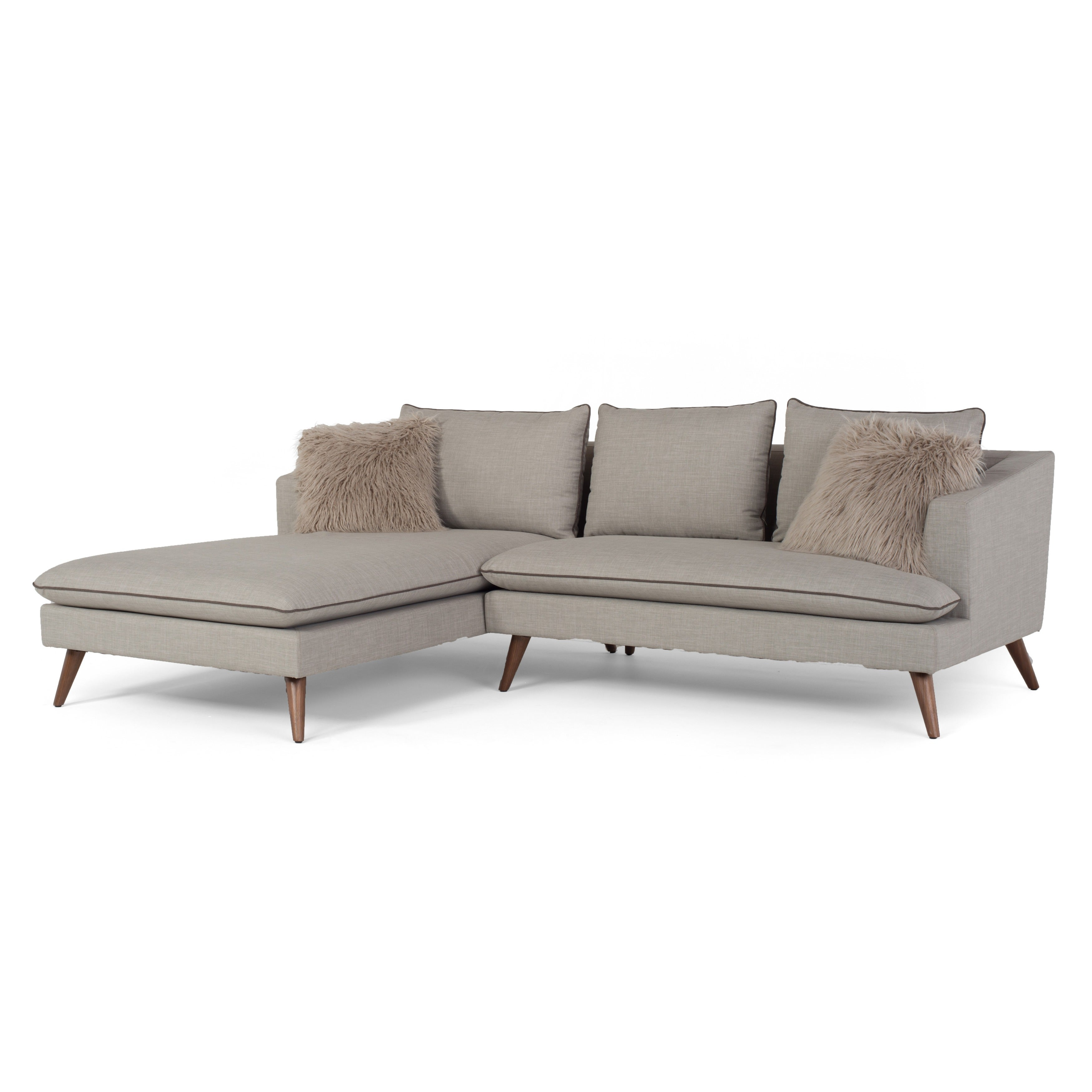 Marco Mid-Century Modern 2-piece Stonewashed Grey Sofa Sectional by ...