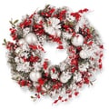 Red/White 24-inch Artificial Christmas Wreath