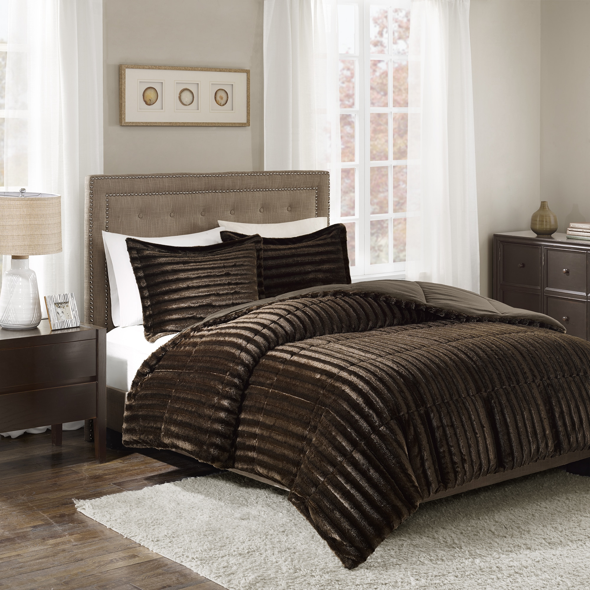 fur set gray faux comforter solid plaid black alternative buffalo down and red