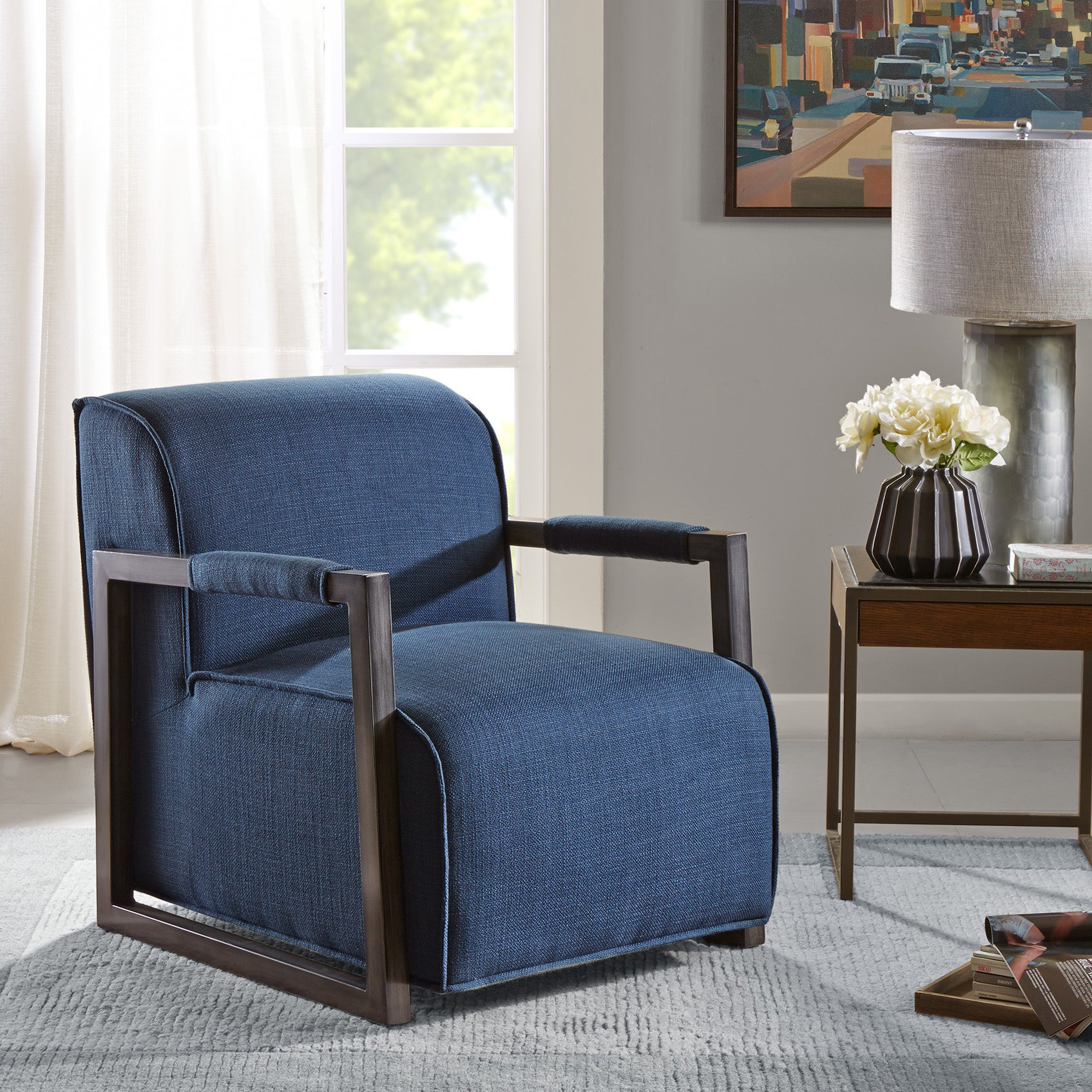 Picture of: Shop Beckett Metal Oversized Accent Arm Chair Overstock 12496101