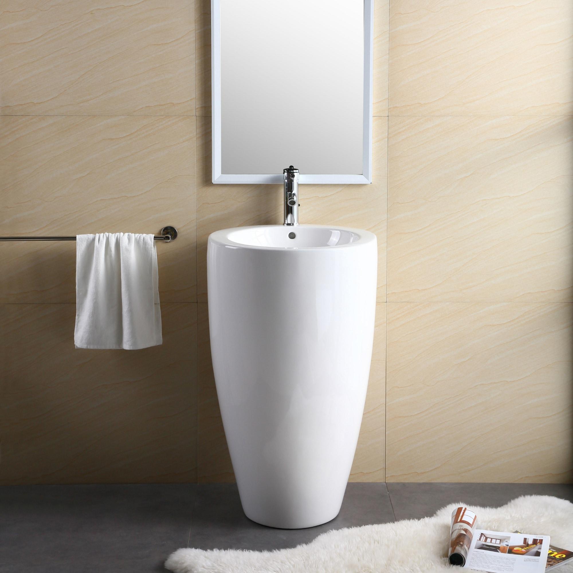 Shop Fine Fixtures White Vitreous China Round Island Pedestal Sink ...