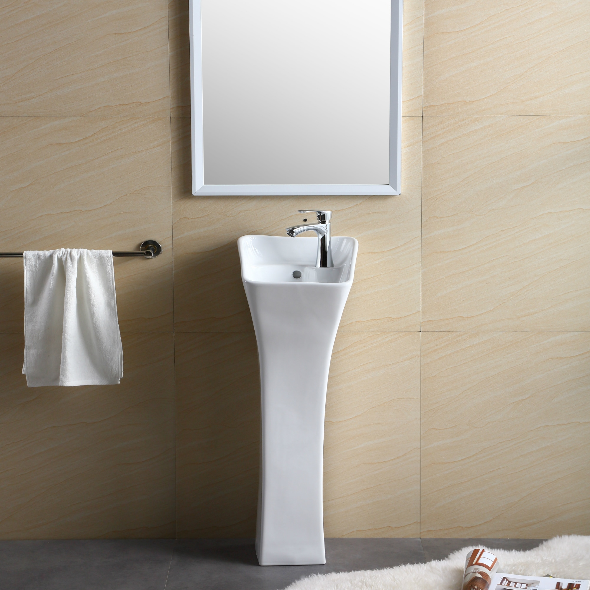 Shop Windfield White Vitreous China Pedestal Sink Free Shipping