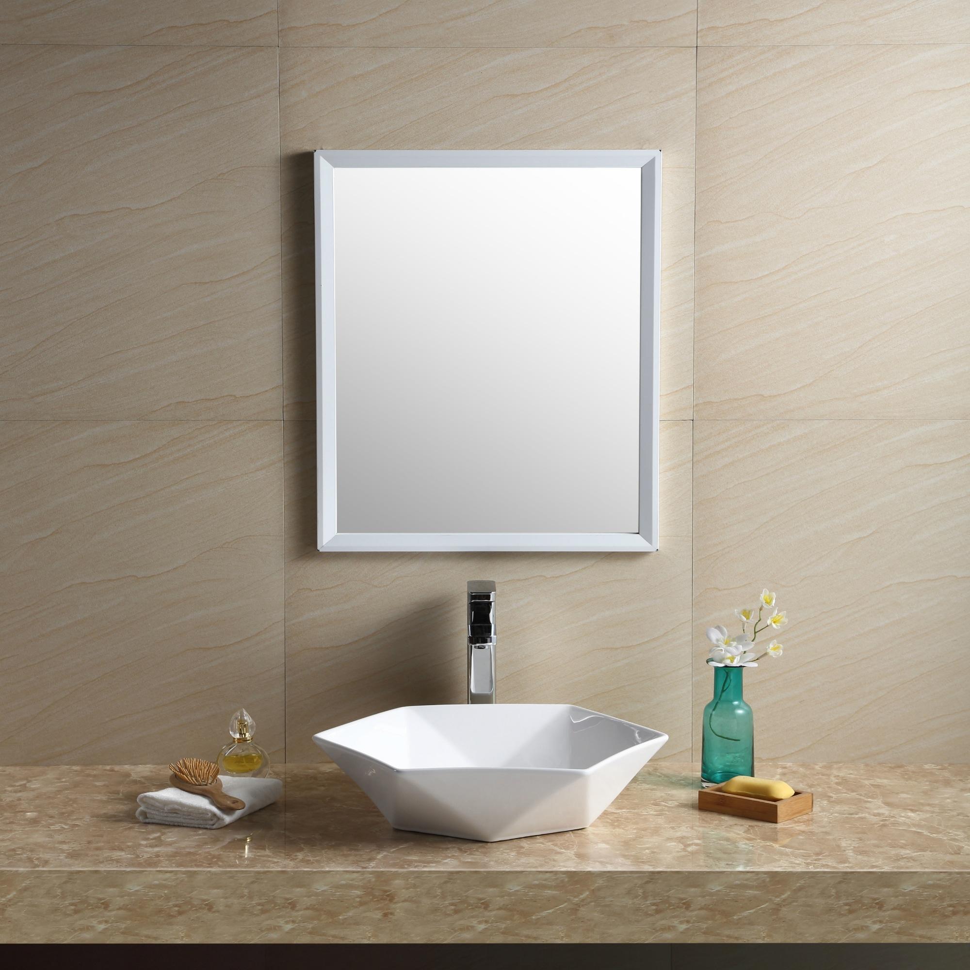 Shop Fine Fixtures White Vitreous China Hexagon Vessel Bathroom Sink ...