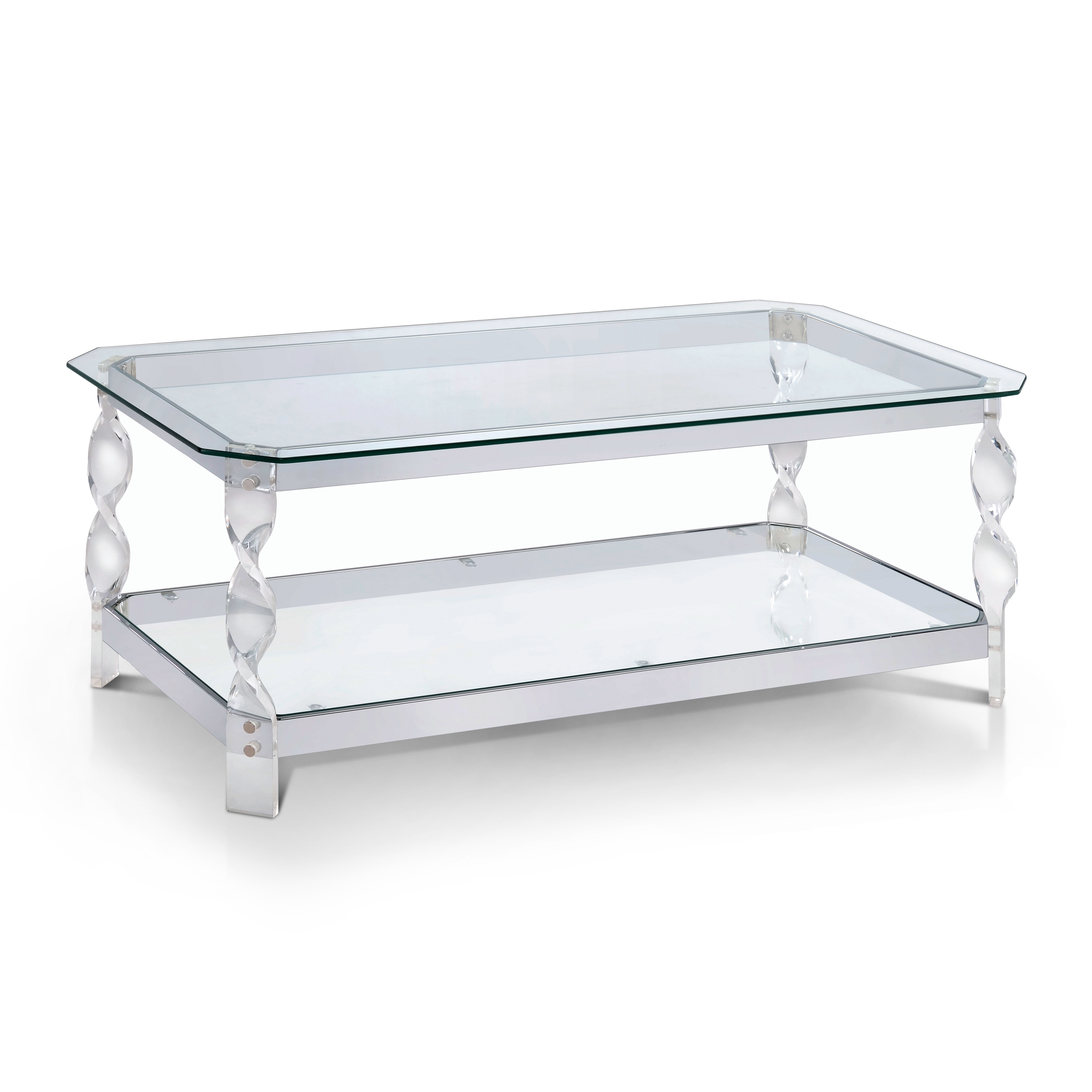 Furniture of America Monrow Contemporary Clear Glass Chrome Coffee