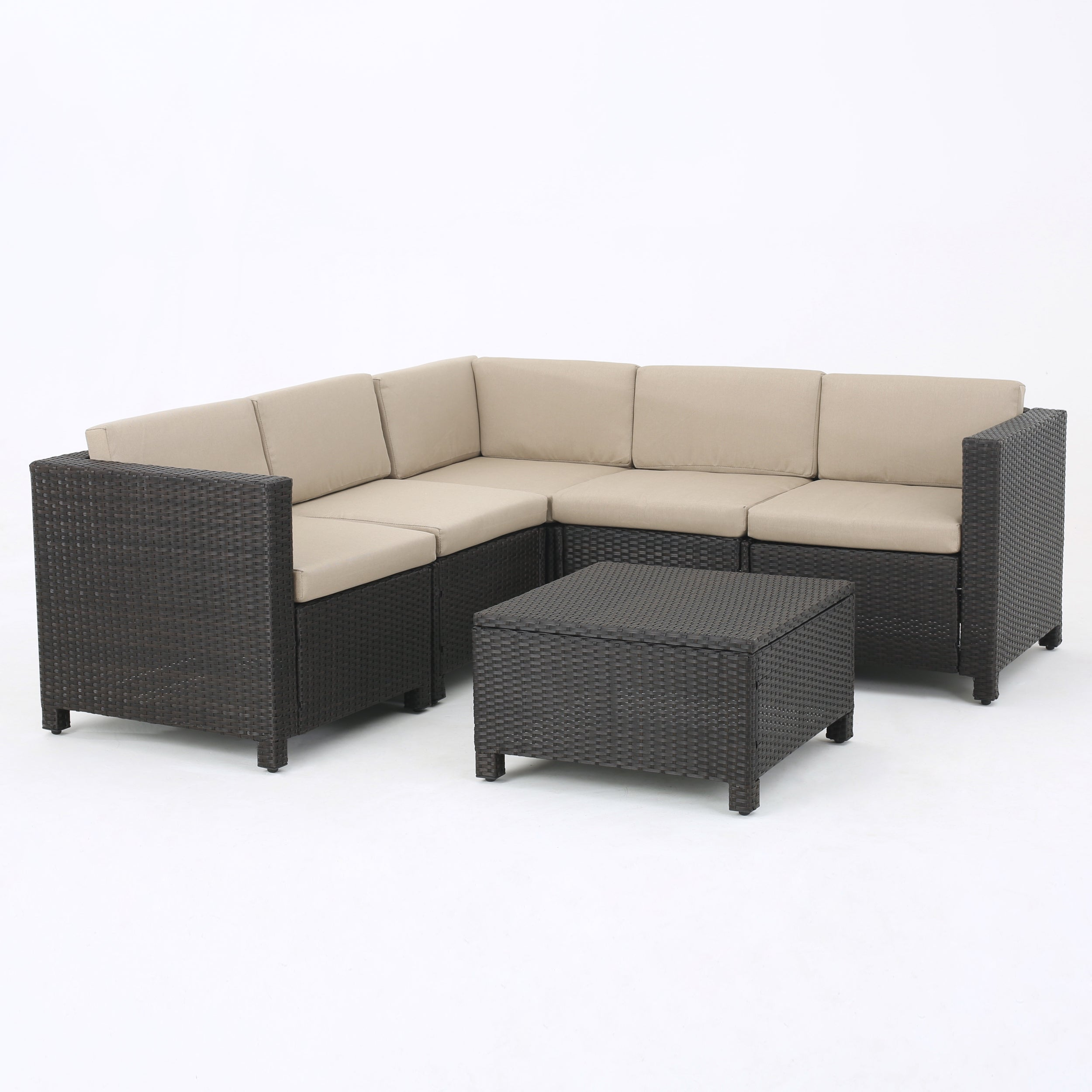 Puerta Outdoor 6-piece Wicker V-Shaped Sectional Sofa Set by ...