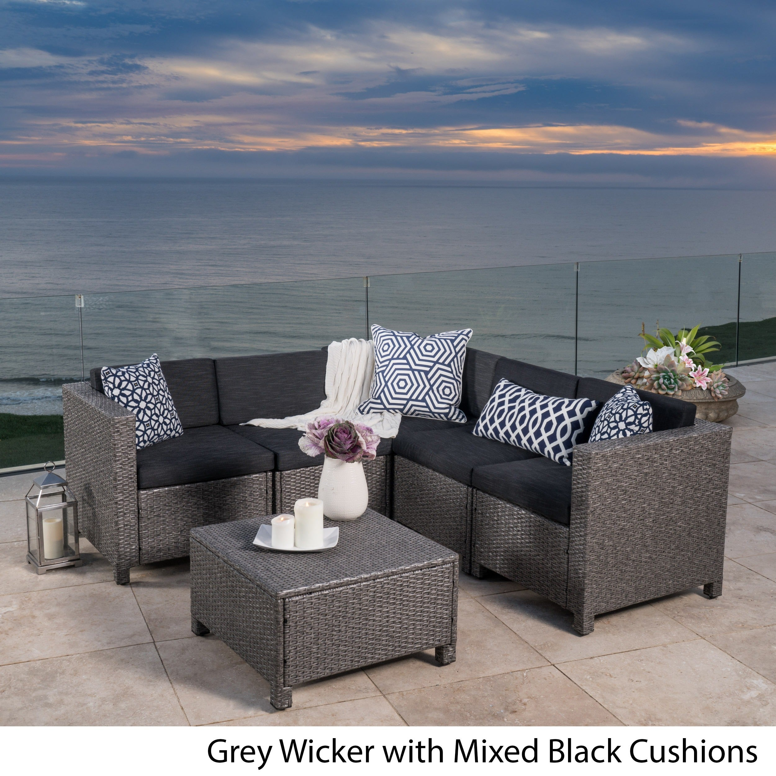 christopher knight home puerta grey outdoor wicker sofa set. Puerta Outdoor 6-piece Wicker V-Shaped Sectional Sofa Set By Christopher Knight Home - Free Shipping Today Overstock 19310596 Grey Overstock.com