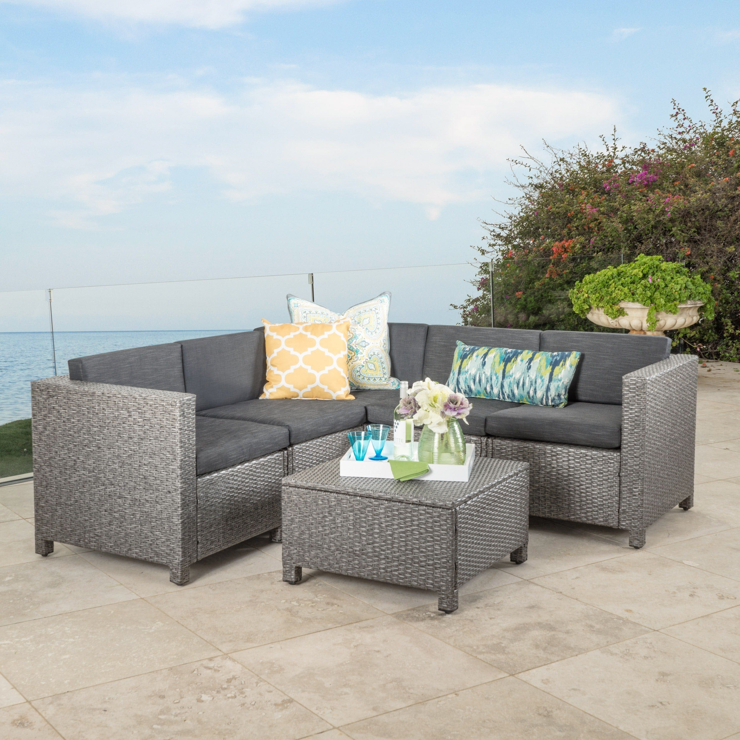 Shop Puerta Outdoor 6 Piece Wicker V Shaped Sectional Sofa Set By  Christopher Knight Home   On Sale   Free Shipping Today   Overstock.com    12502410