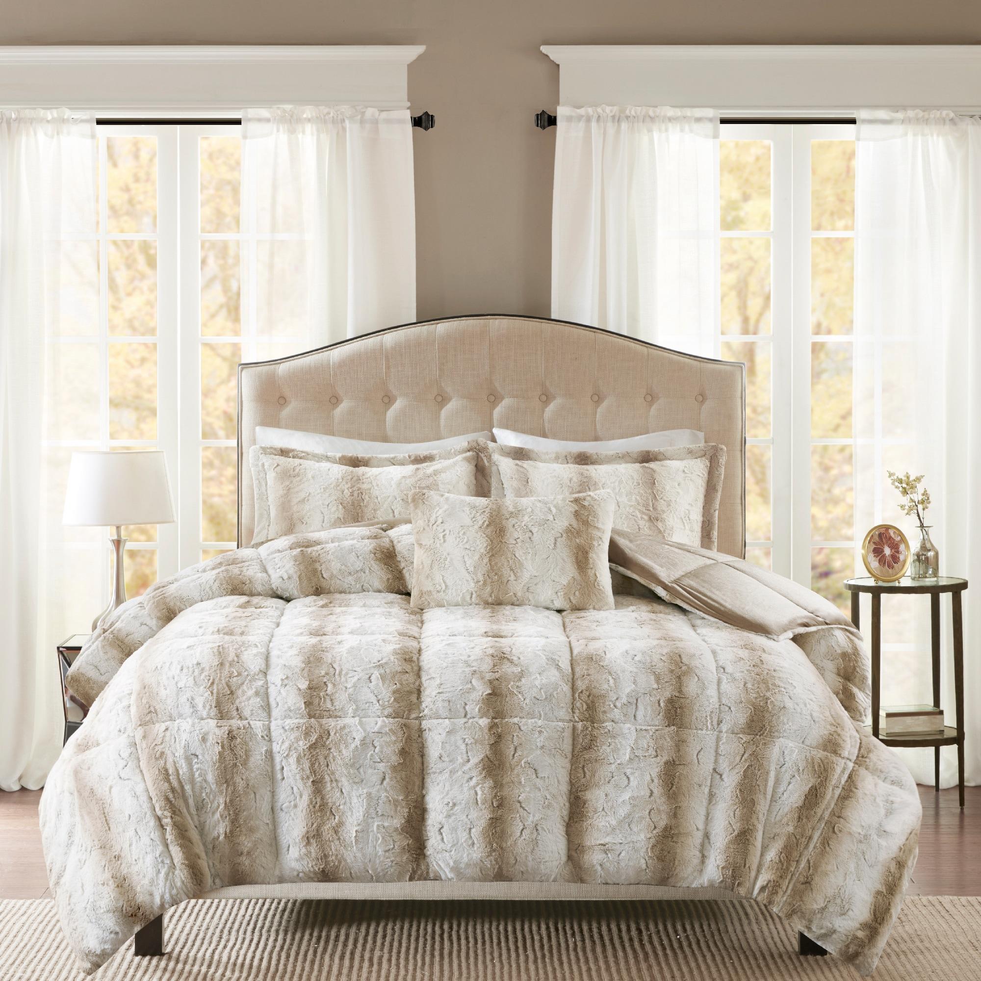 madison ivory comforter plush fur mp mini itm set park ebay side norfolkalbany norfolk ultra cs