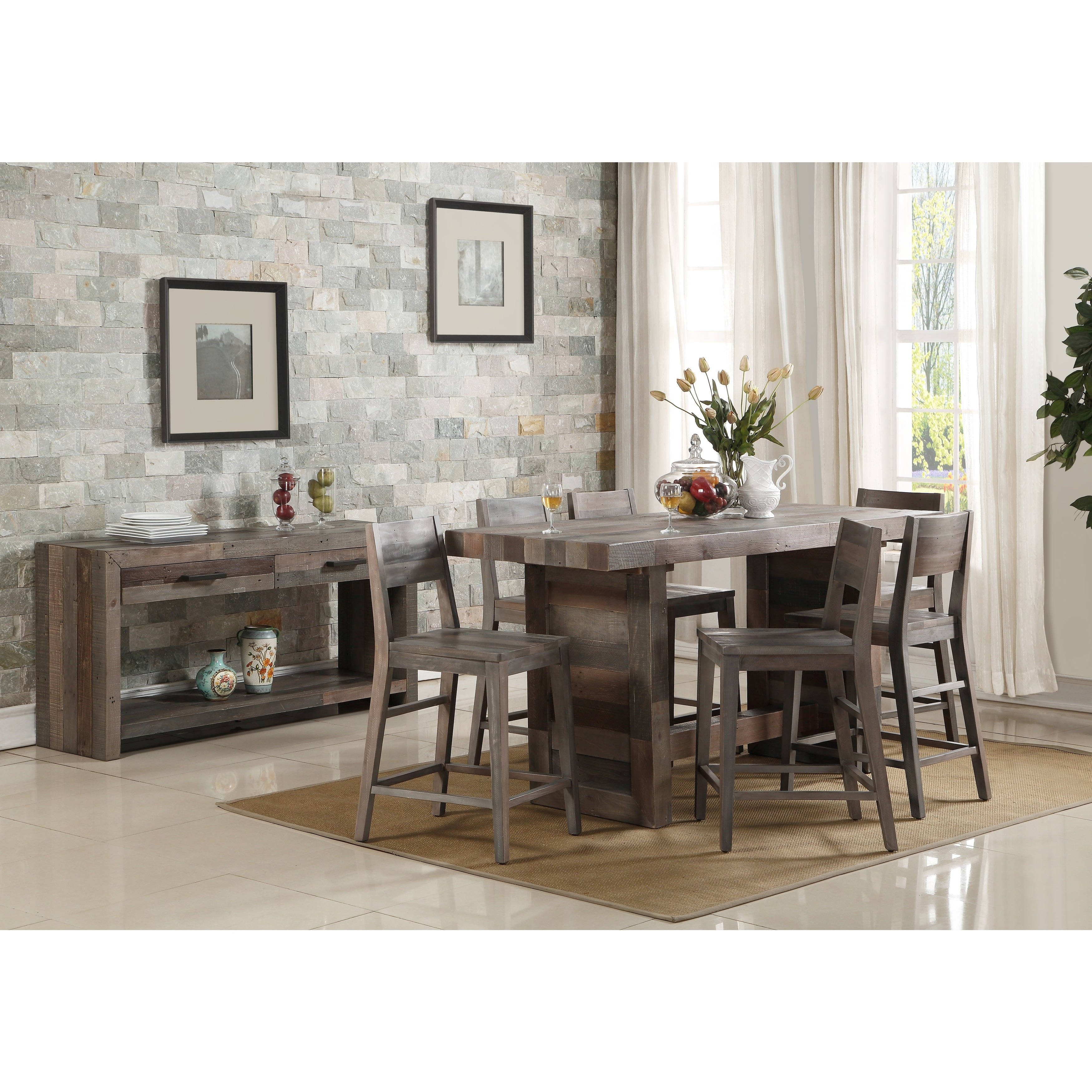 Oscar reclaimed wood 77 inch gathering table by kosas home charcoal
