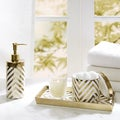 Madison Park Gold/Silver Chevron 3 Piece Ceramic Bath Accessory Set 2-Color Options
