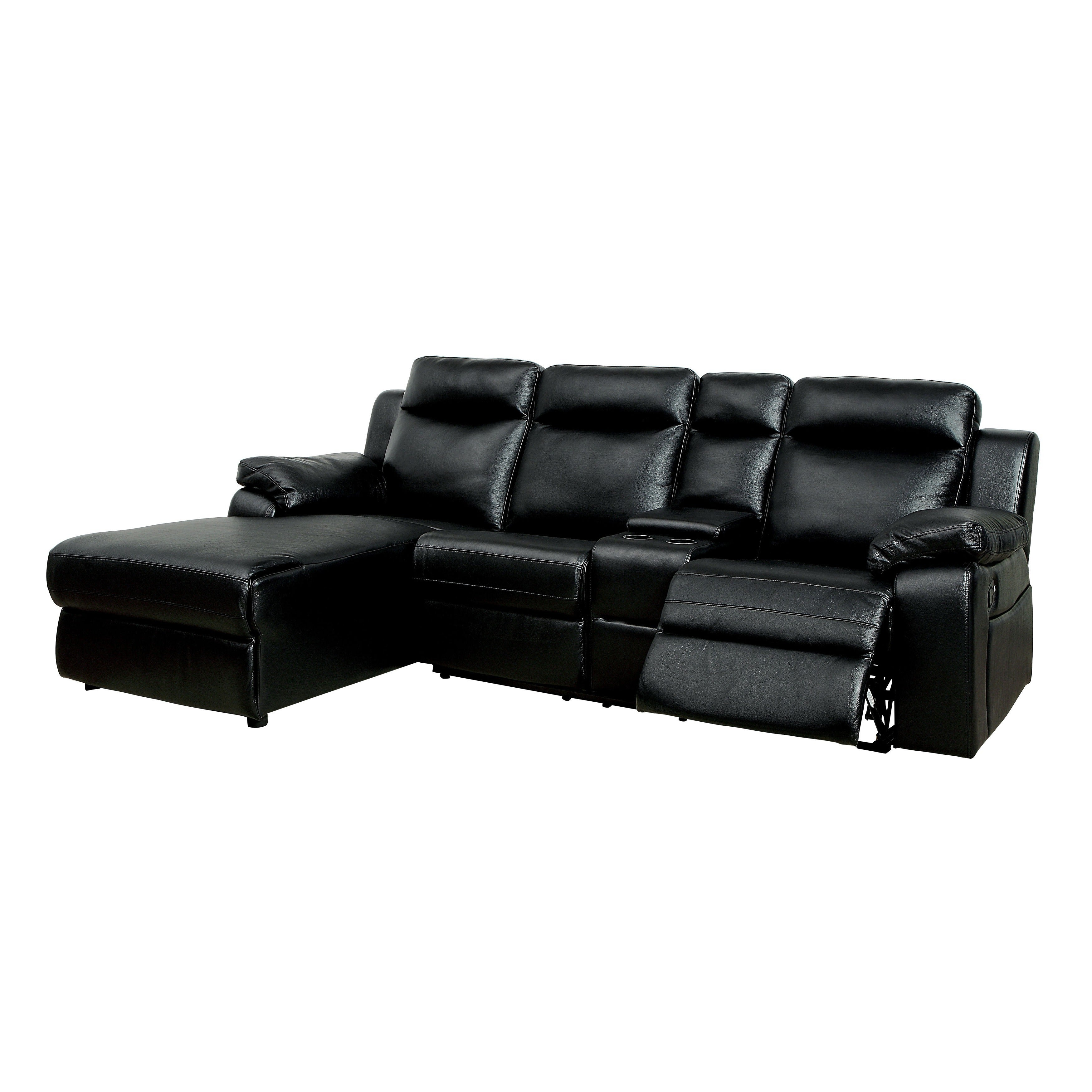 Shop Furniture Of America Tristen Reclining L Shaped Leatherette Sectional    Free Shipping Today   Overstock.com   12509889