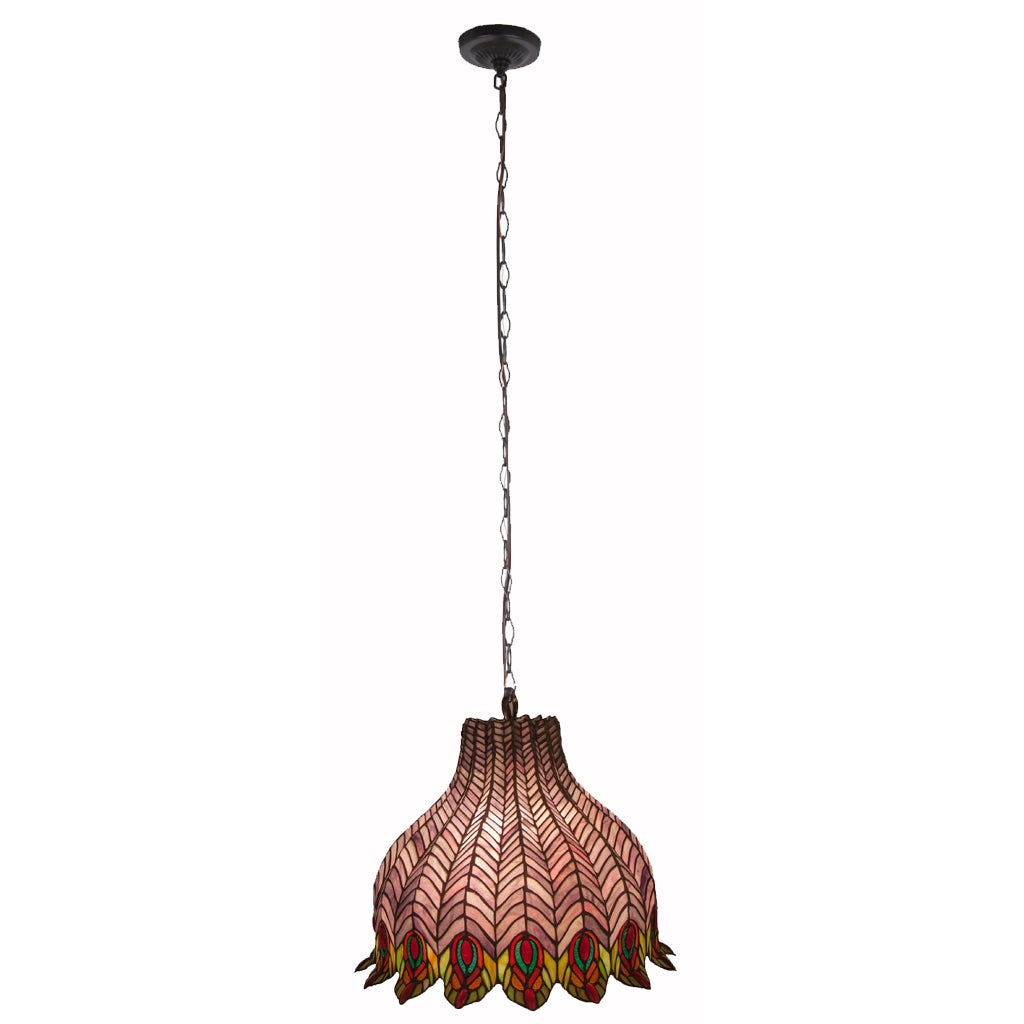 Pride Of The Pea Multicolored Stained Gl Pendant Lamp