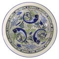 Handmade Large Stoneware Serving Bowl Aqua Fish Design, by Le Souk Ceramique (Tunisia)