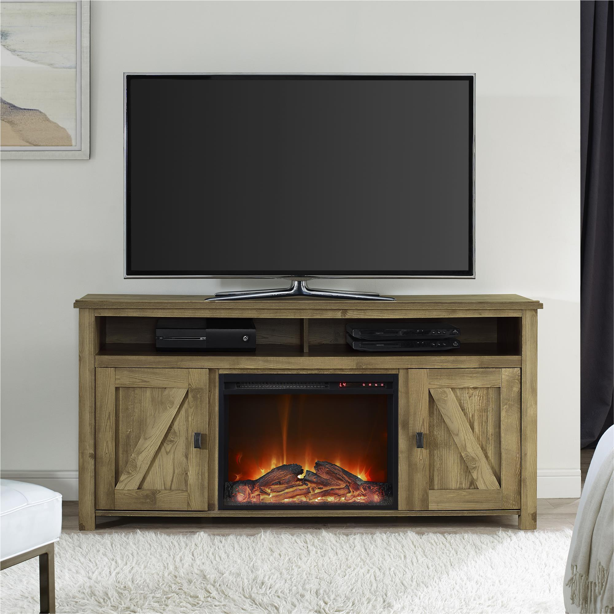 with wash in console media tv ip fireplace com stand walmart wood plug grey