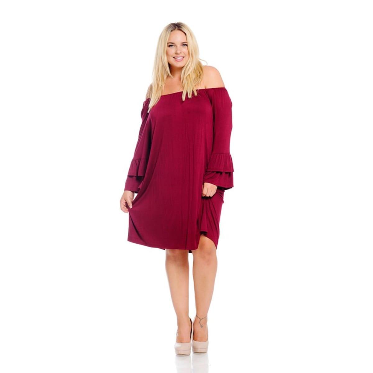 Women\'s Burgundy Plus Size Dress