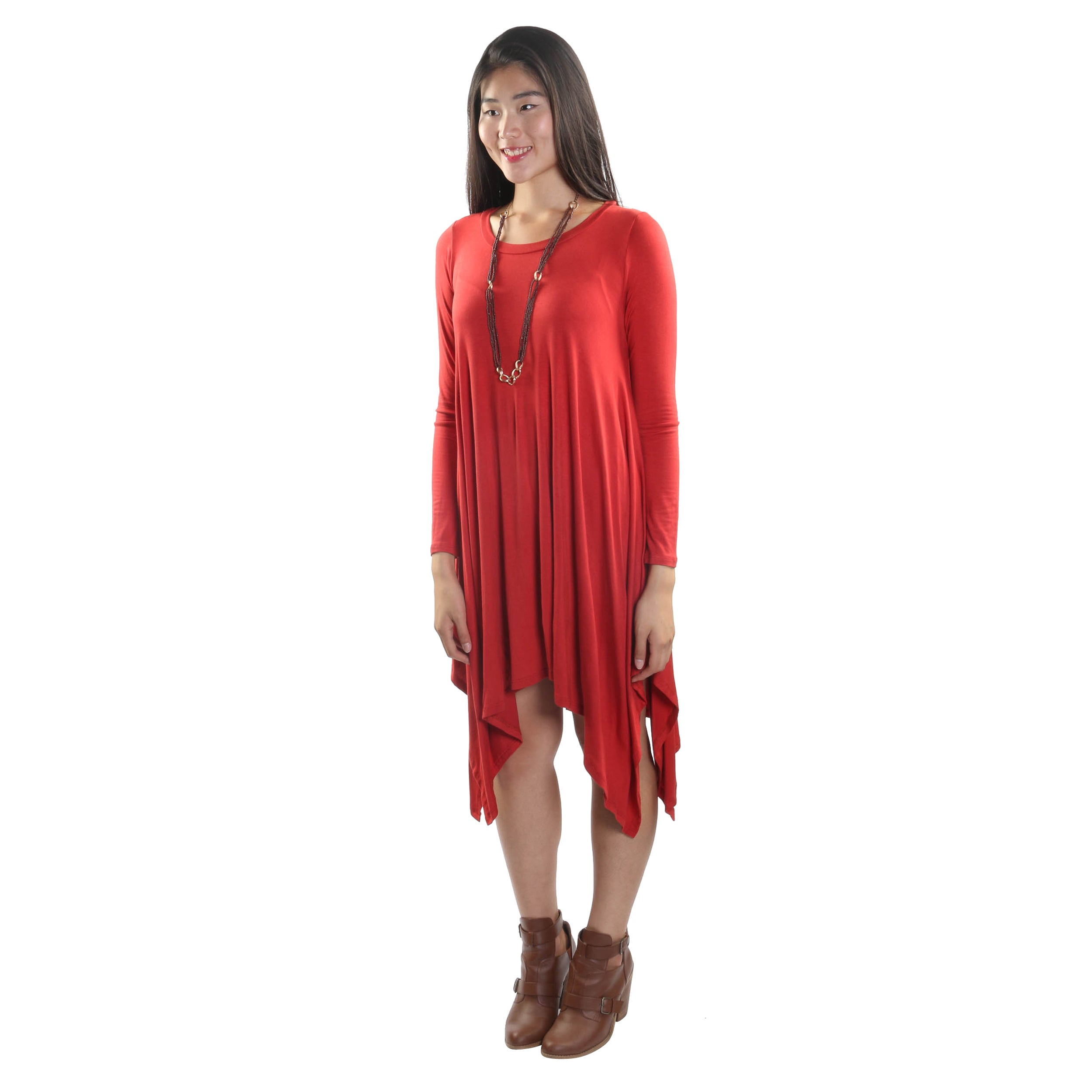 a9940d83b9c1 Shop Hadari Women's Long Sleeve Round Neck Dress - Free Shipping On Orders  Over $45 - Overstock.com - 12513252