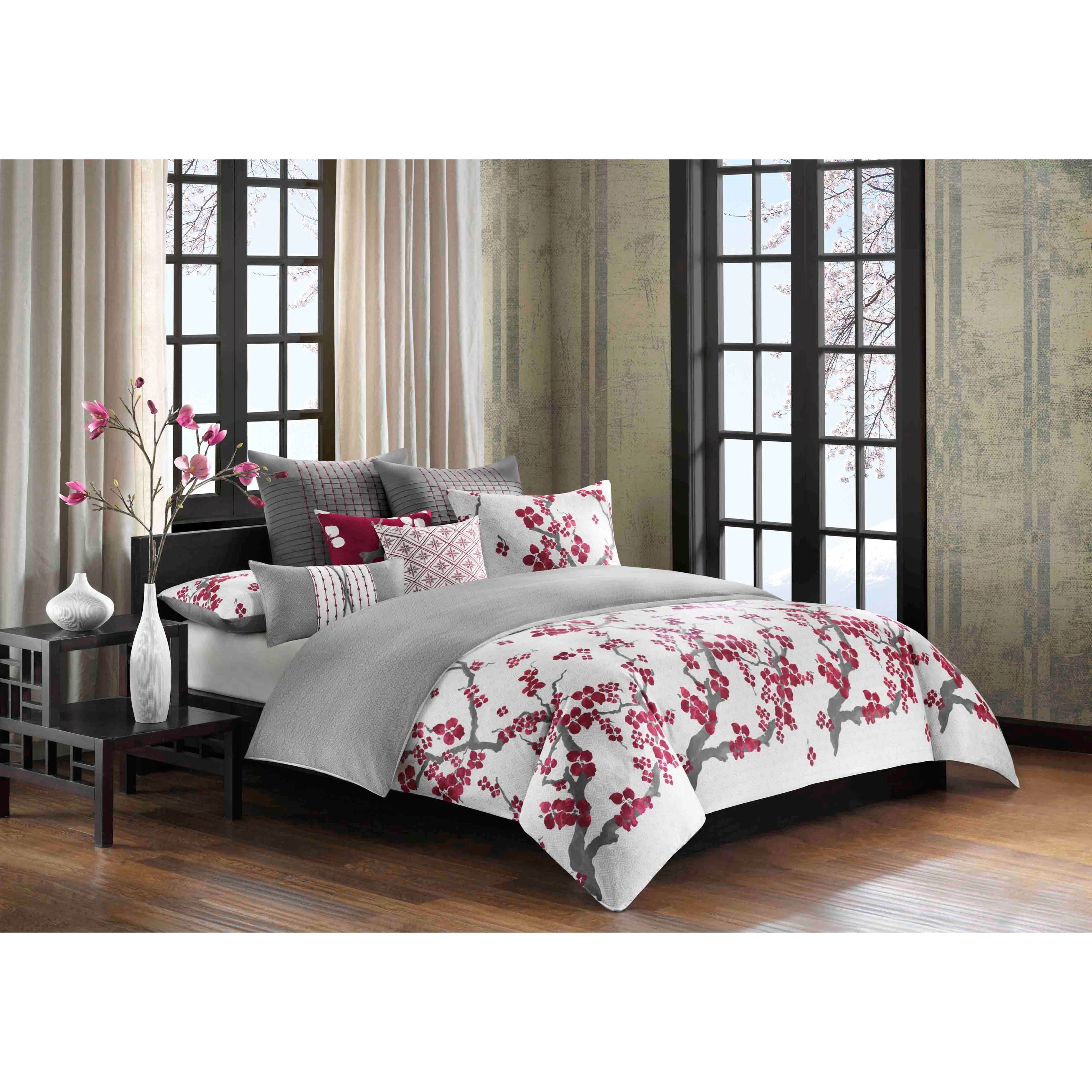 N Natori Cherry Blossom Multi Cotton Duvet Cover Mini Set Free Shipping Today 19324135