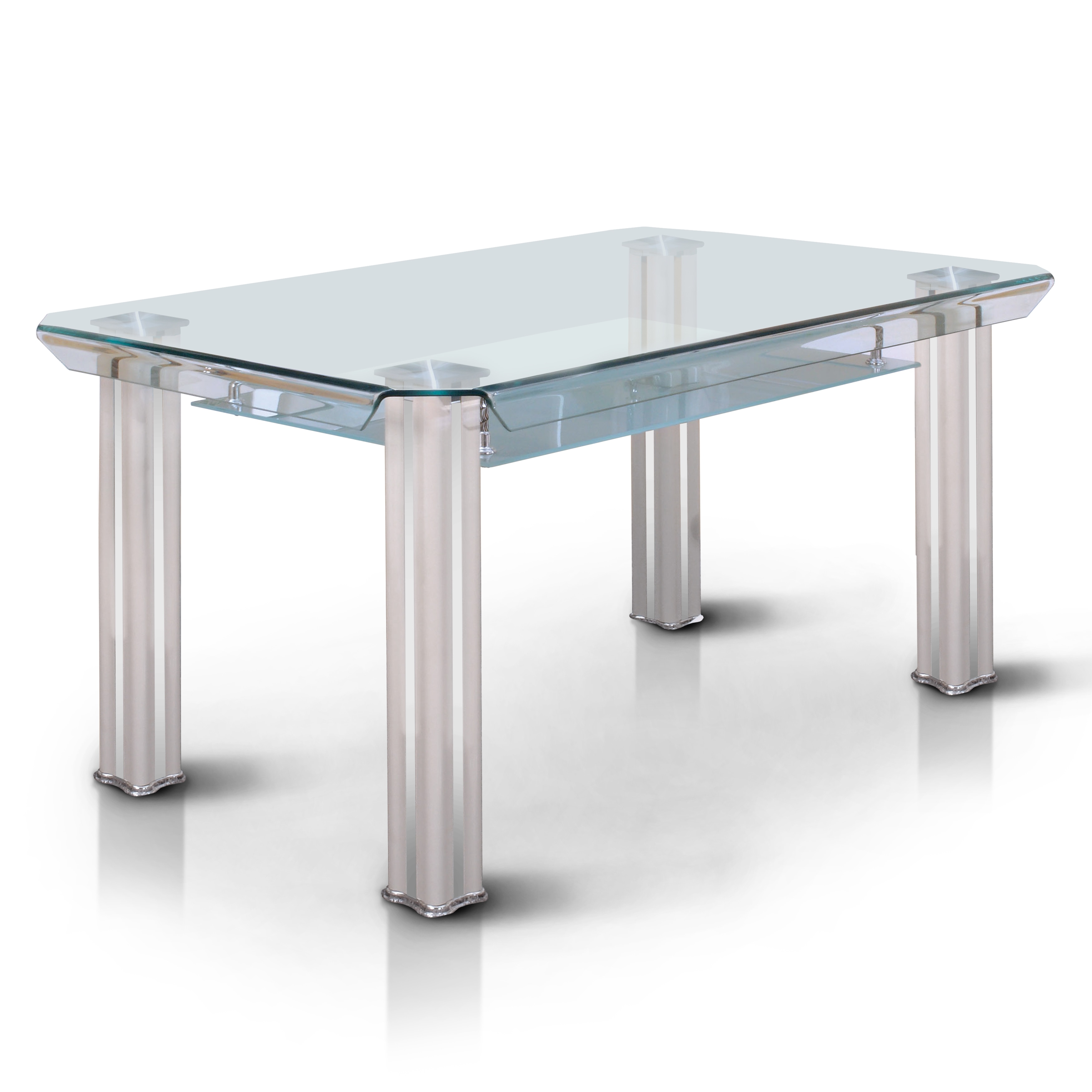 Furniture of america lordelle contemporary tempered glass 59 inch dining table