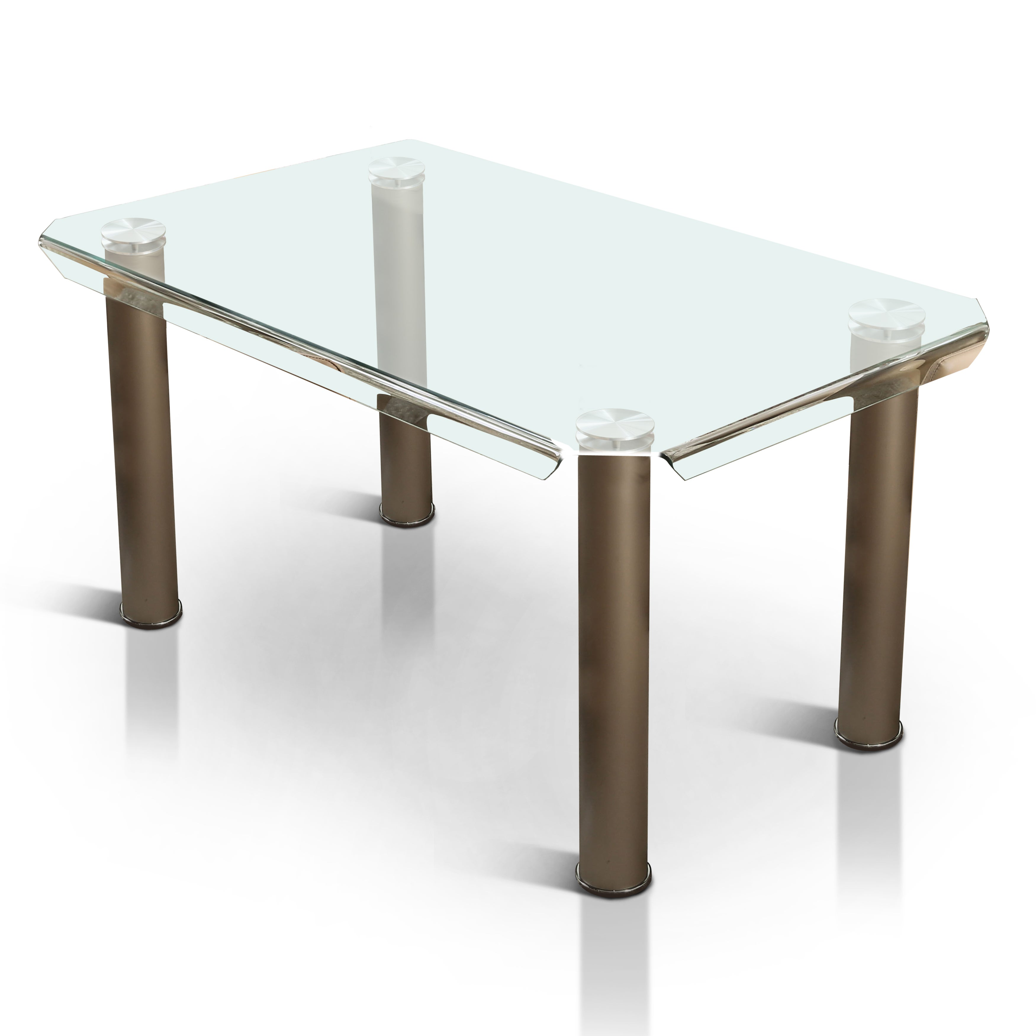 Furniture of america contemporary tempered glass 59 inch dining table