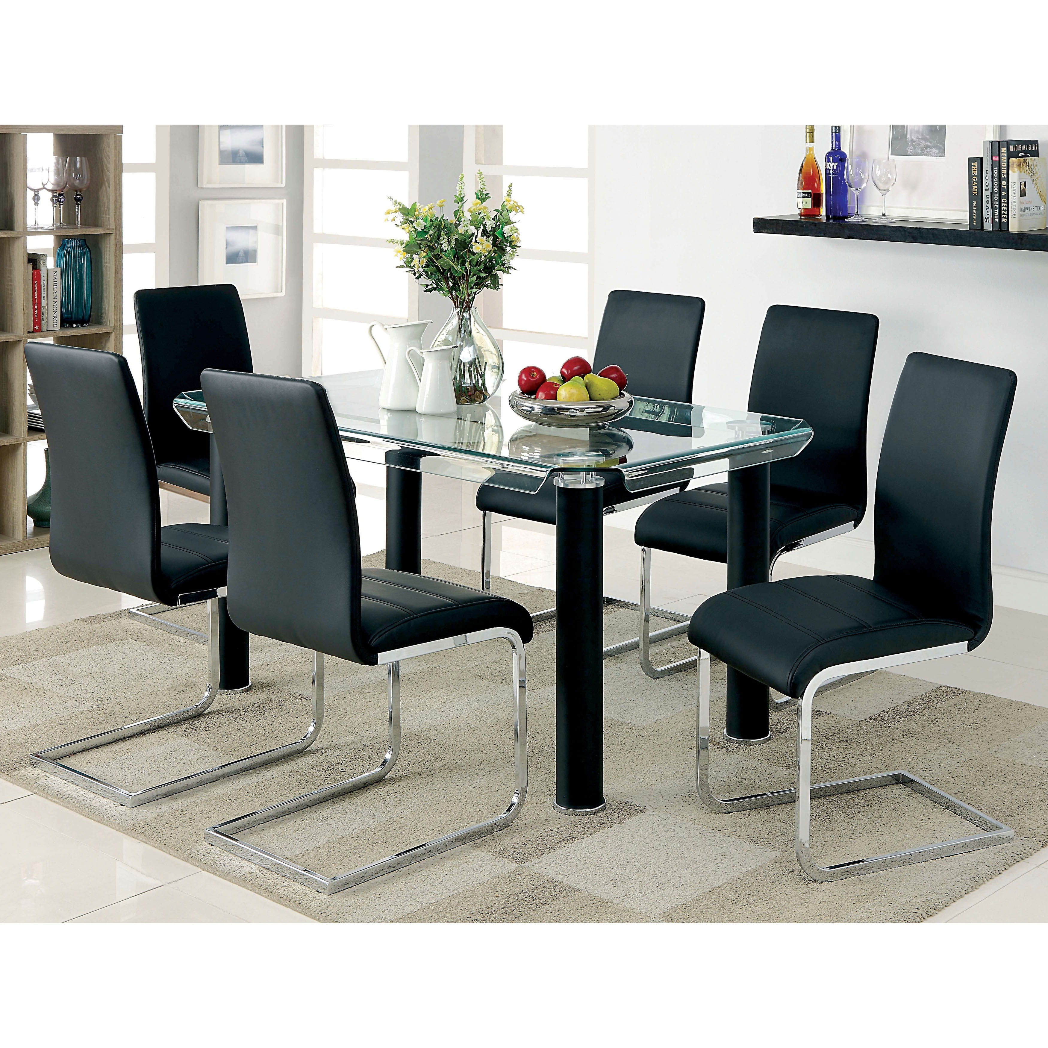 Furniture of America Contemporary Tempered Glass 59 inch