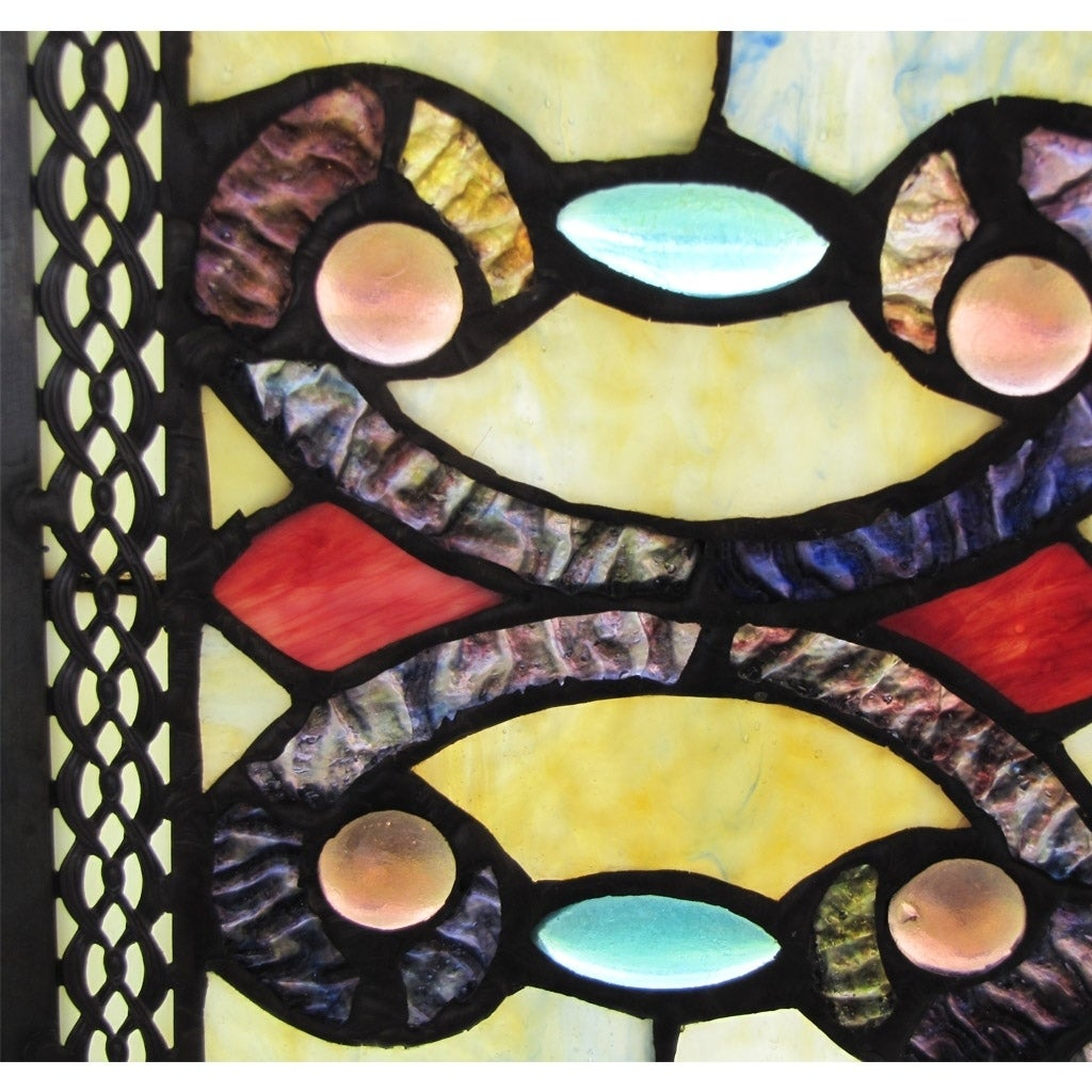 Shop River of Goods Brandi\'s Amber Stained Glass 26-inch Window ...