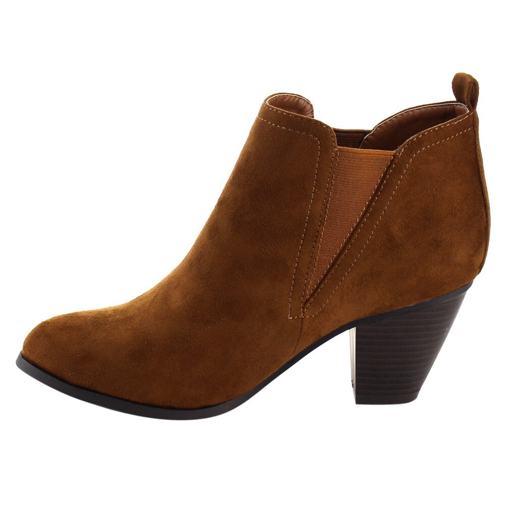 57ce93845dea Shop Nature Breeze Women s FD98 Faux Suede Pull-on Elastic Block Heel  Chelsea Ankle Booties - Free Shipping On Orders Over  45 - Overstock -  12522723