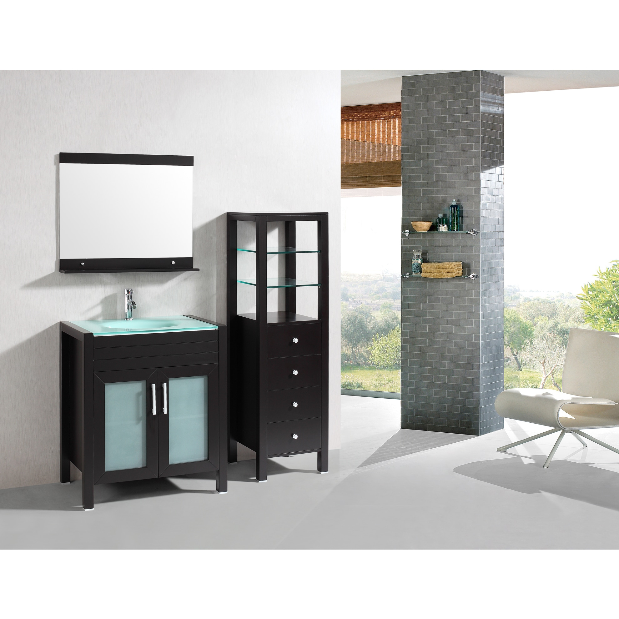 Shop Eviva Roca 36-Inch Espresso Bathroom Vanity cabinet with ...