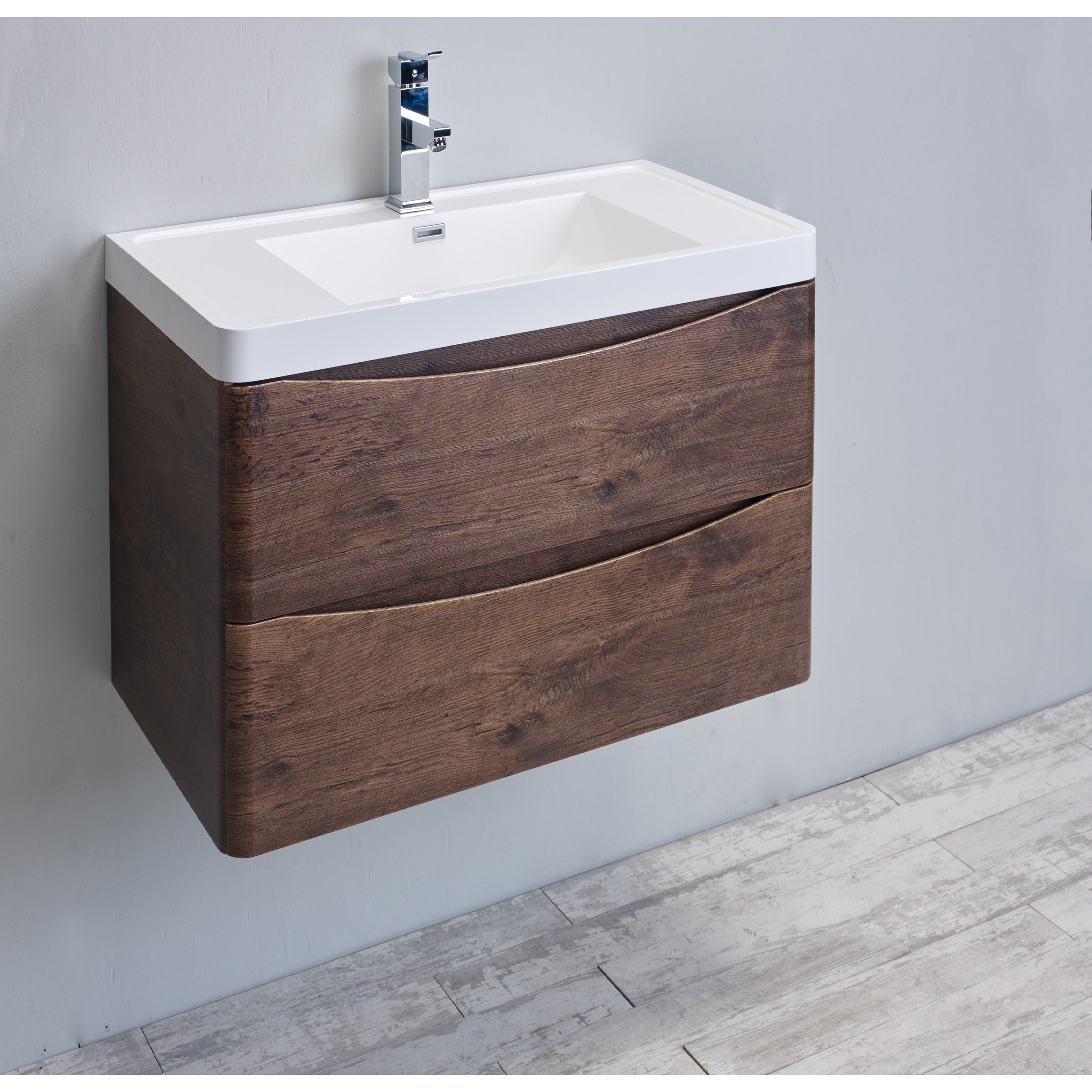 Shop eviva smile 30 inch rosewood modern bathroom vanity set with integrated white acrylic sink free shipping today overstock com 12523353
