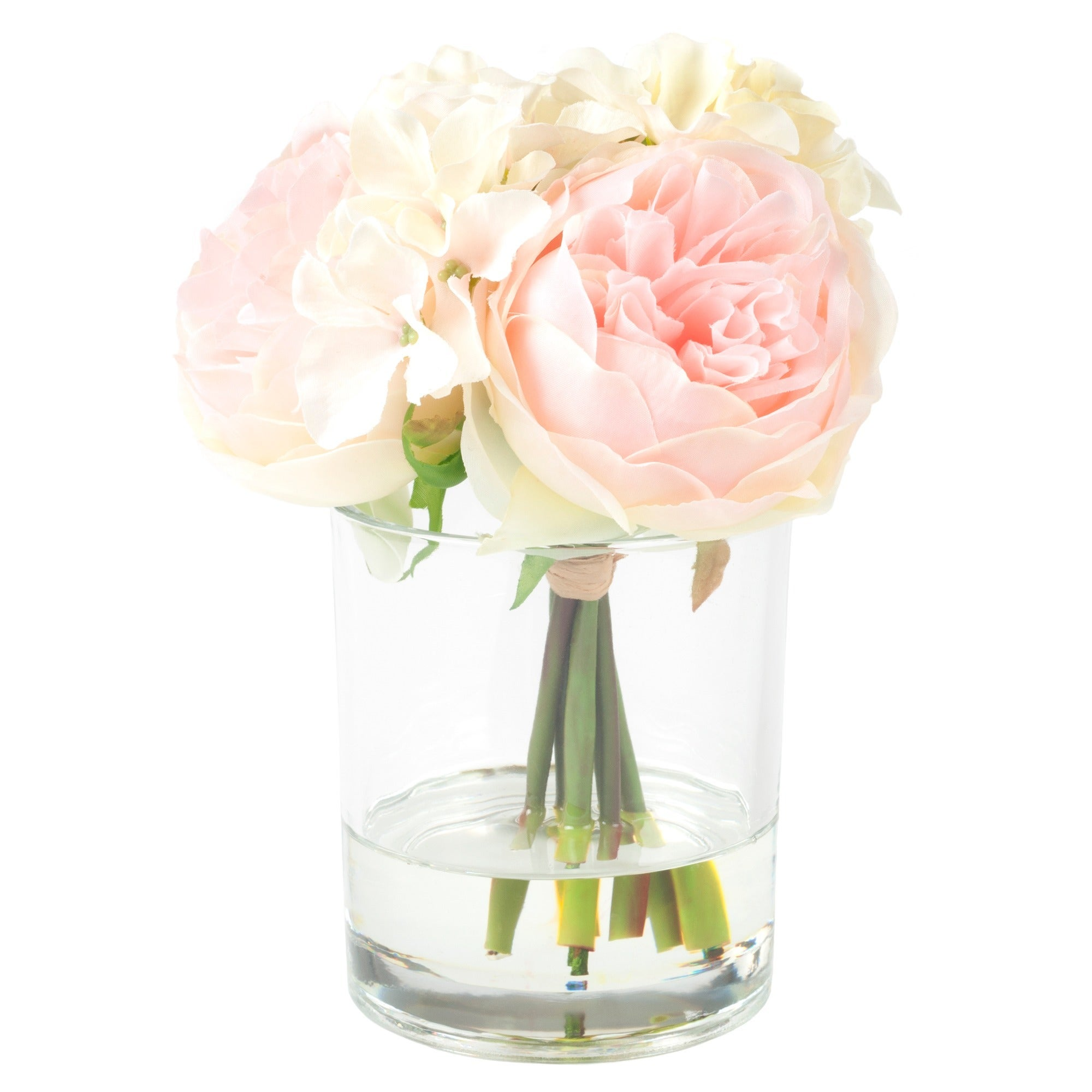 Bon Shop Pure Garden Hydrangea And Rose Floral Arrangement   Pink And Cream    Free Shipping On Orders Over $45   Overstock.com   12524505