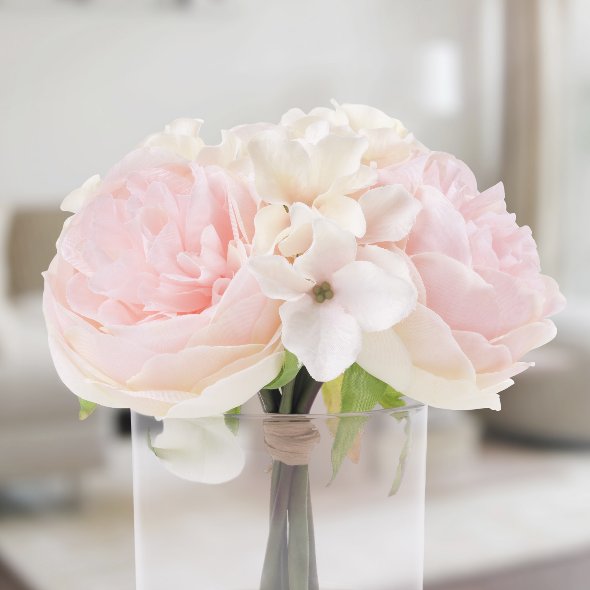 Shop Pure Garden Hydrangea And Rose Floral Arrangement Pink And