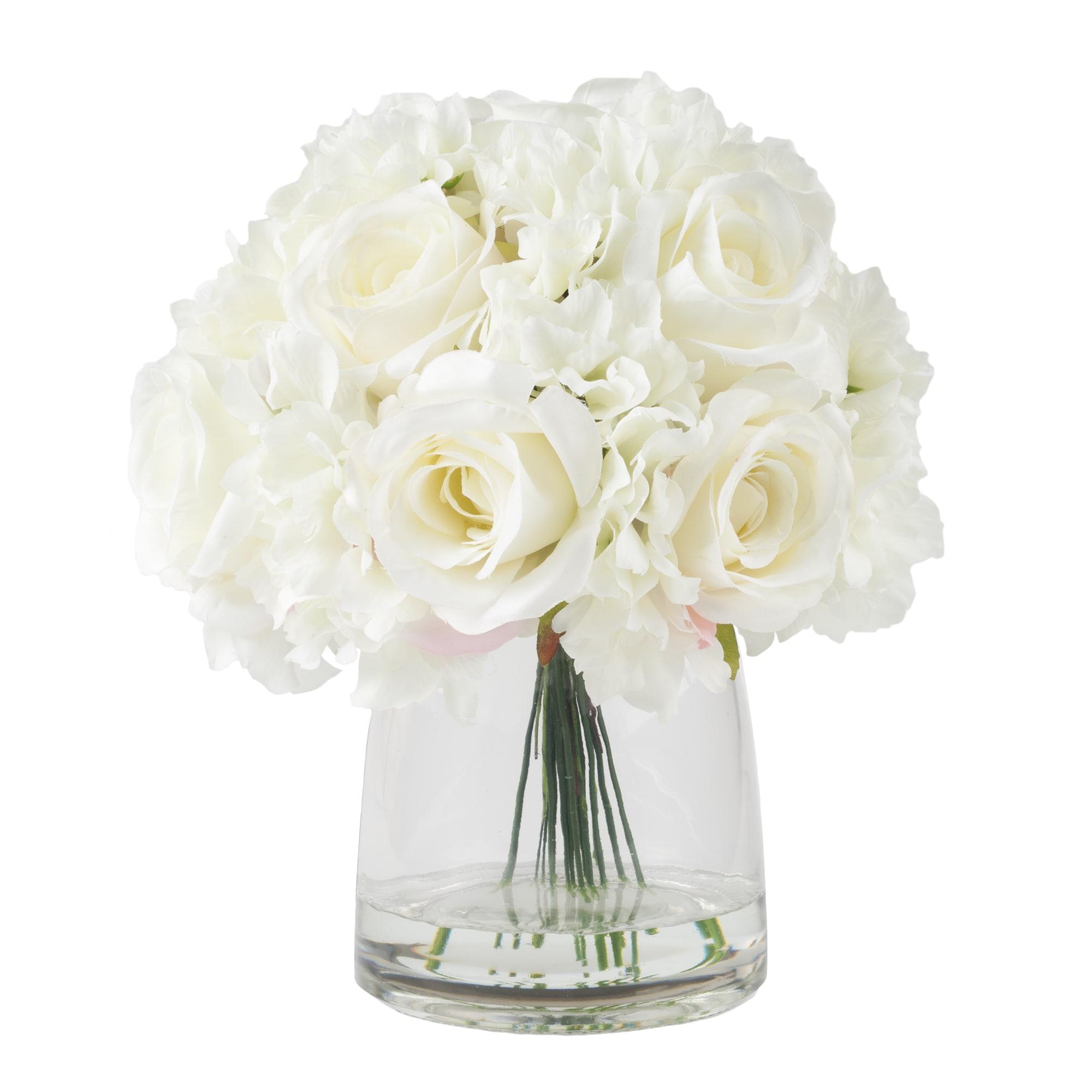 Shop Pure Garden Hydrangea And Rose Floral Arrangement With Vase