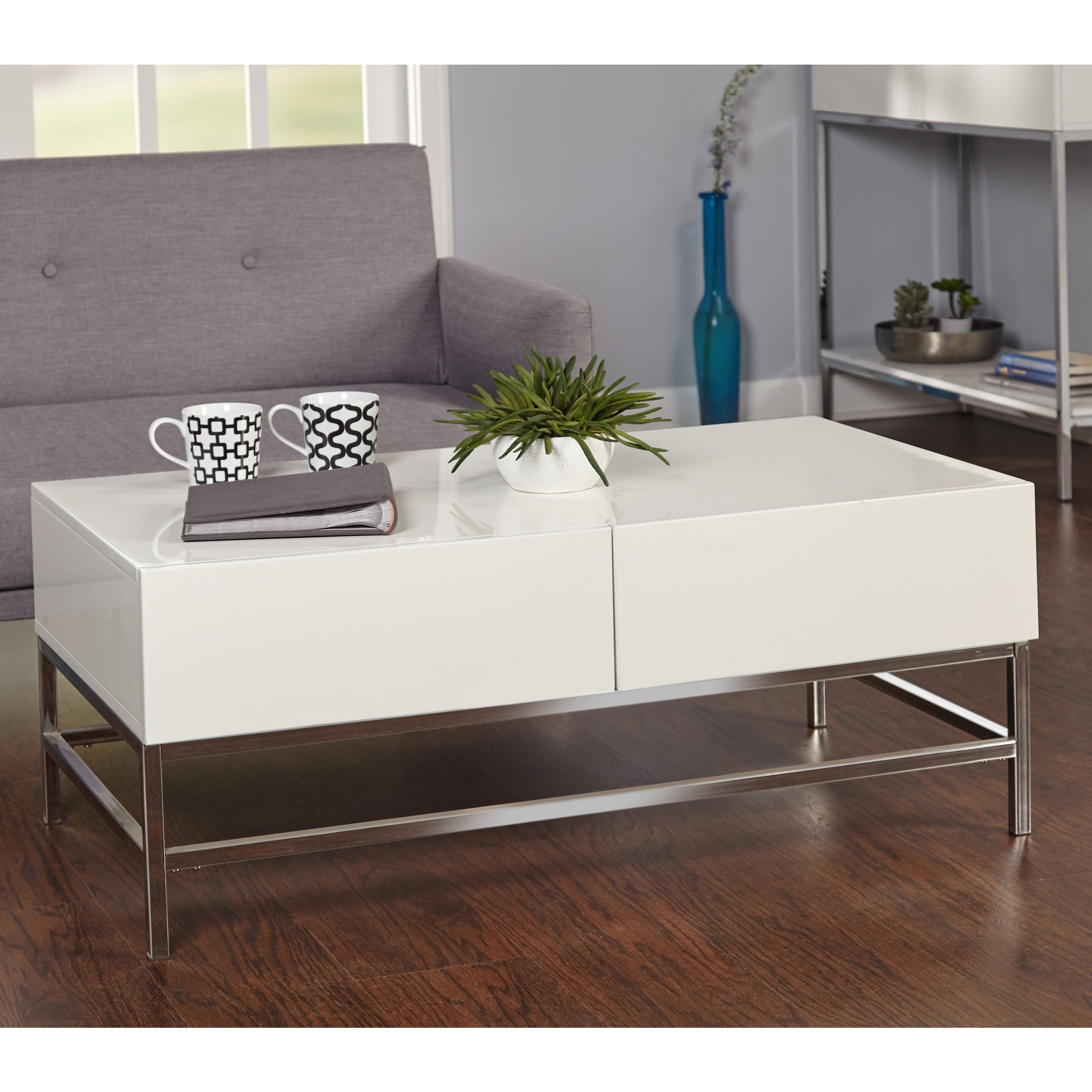Simple Living White Metal High Gloss Coffee Table Free Shipping Today 12525095