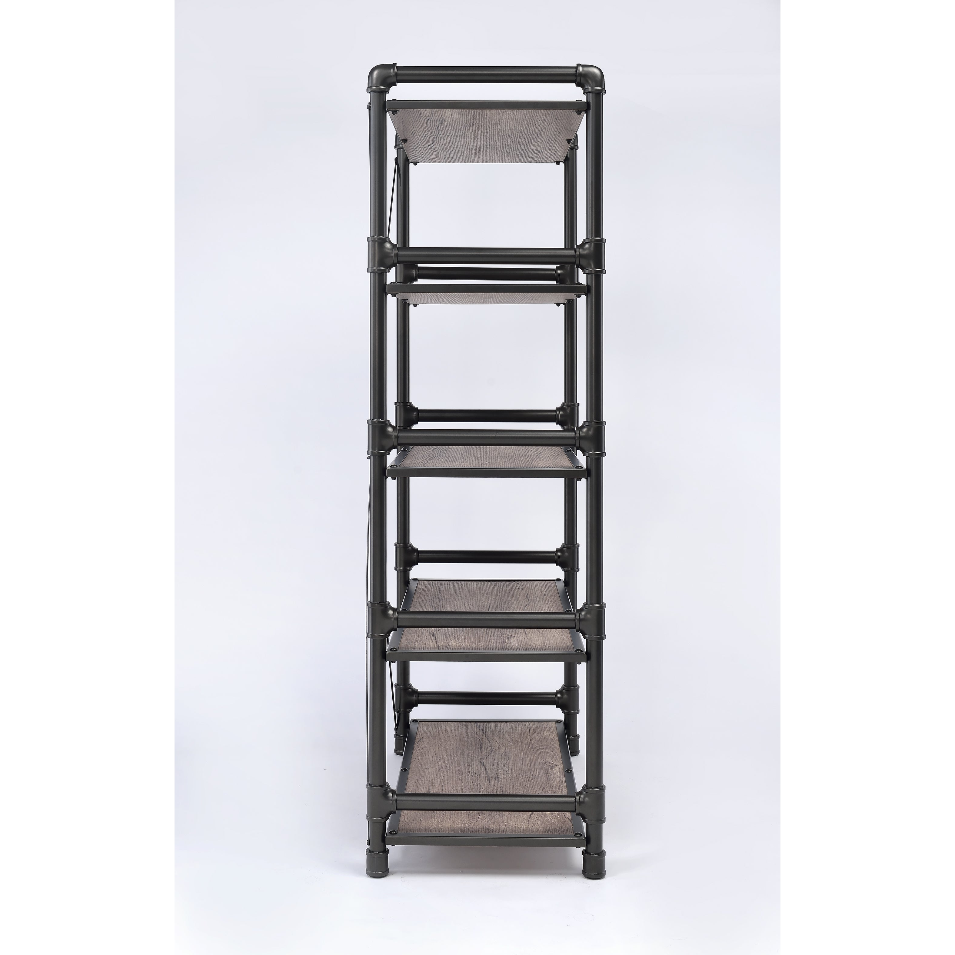 Shop Caitlin Rustic Oak And Black Metal Bookshelf