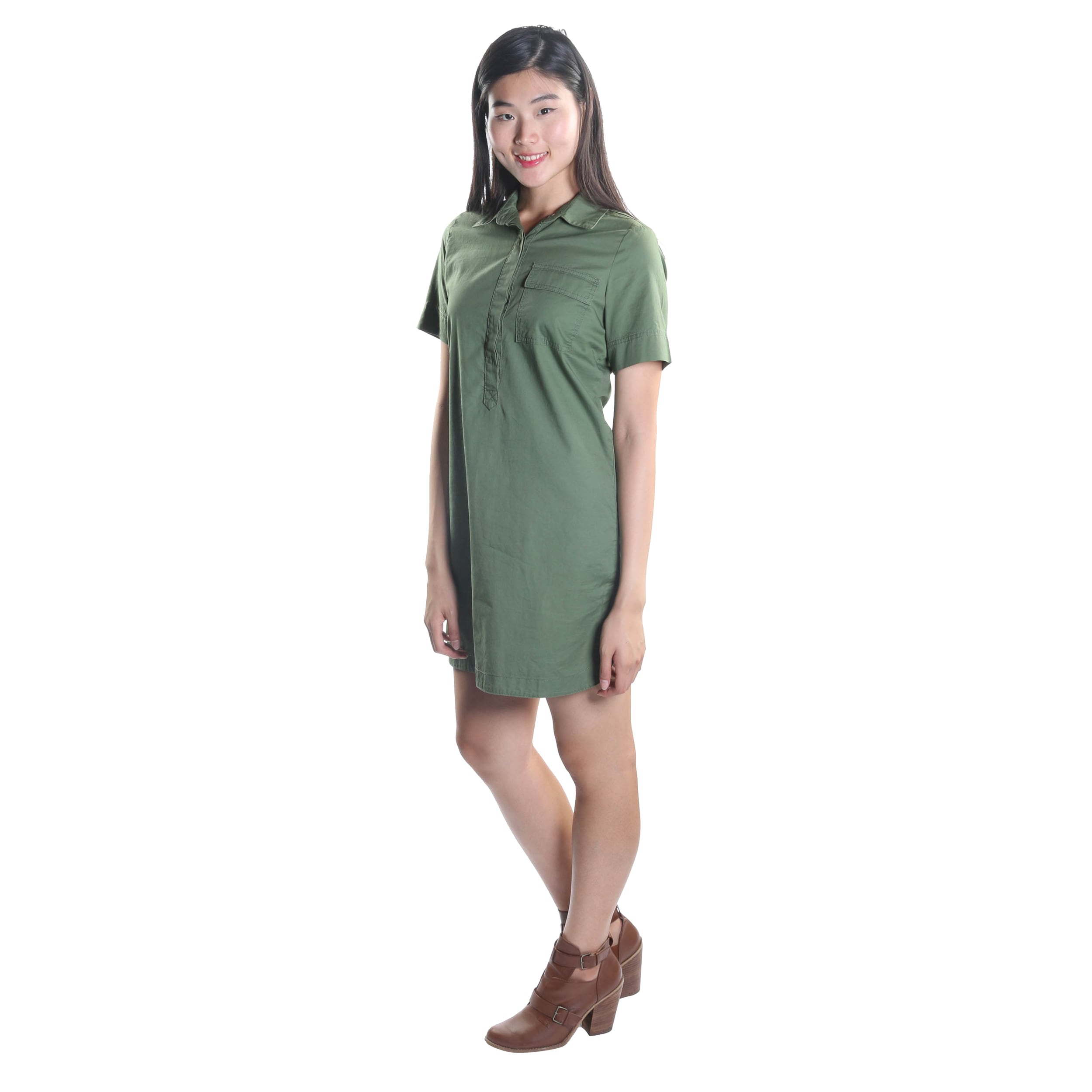 5ec85a2c37 Shop Hadari Women s Short Sleeve Button Down Wing Collar Midi Dress with  Frontal Pocket - Free Shipping On Orders Over  45 - Overstock - 12526141