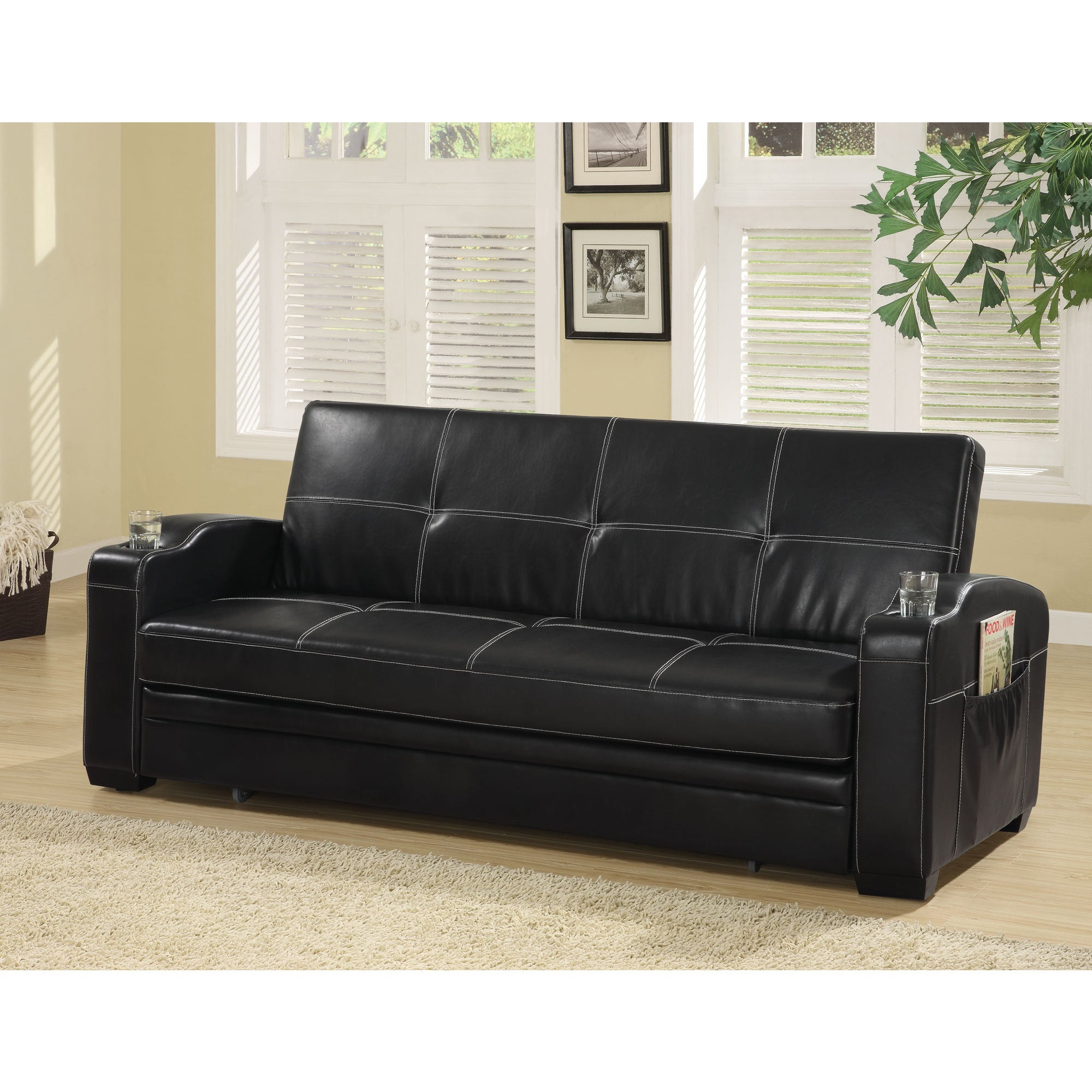 Coaster Company Contemporary Black Vinyl Sofa Bed   Free Shipping Today    Overstock   19333435