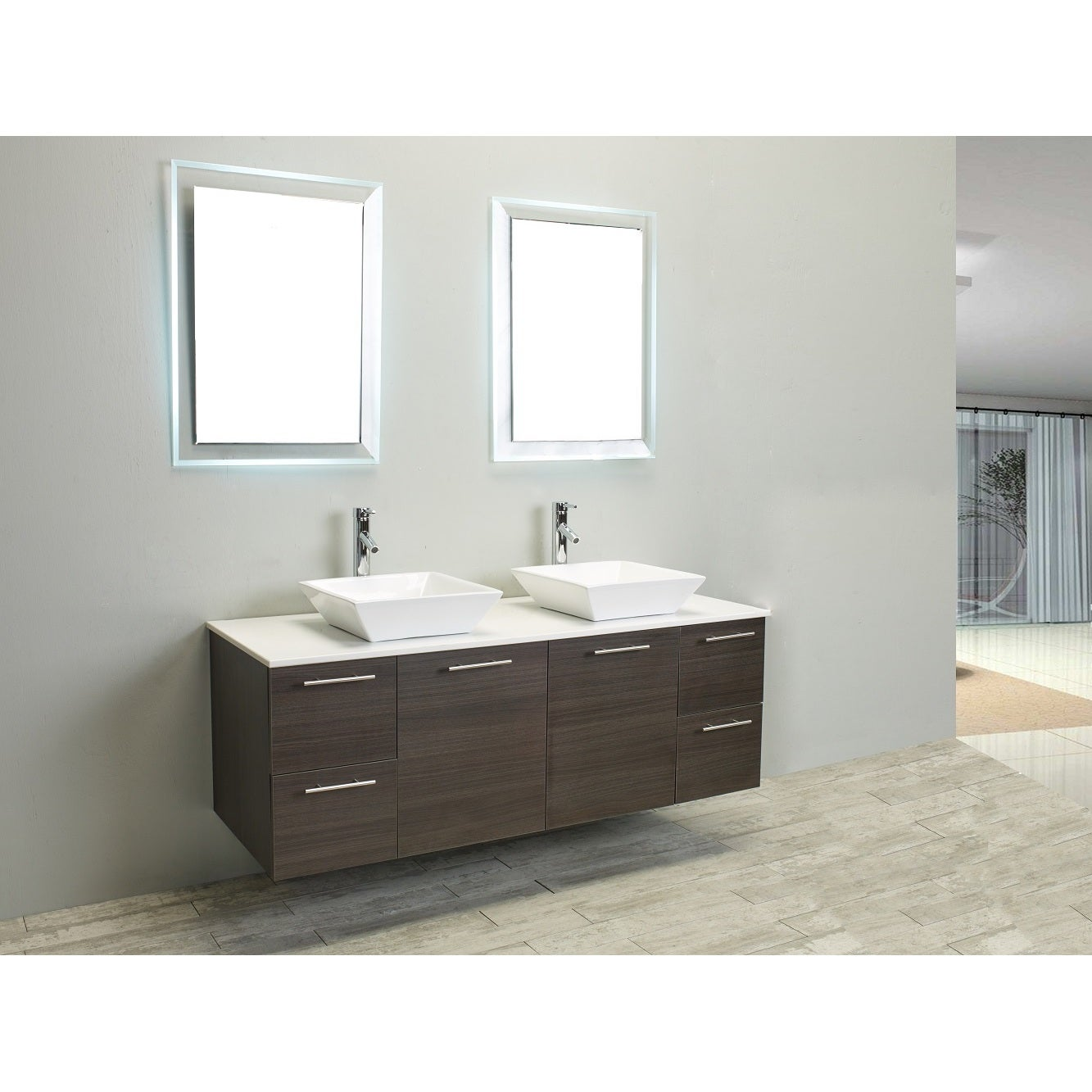 Eviva Luxury 60-inch Grey Oak Bathroom Vanity cabinet - Free ...