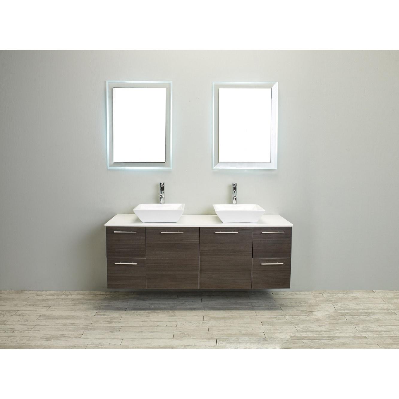 Shop Eviva Luxury 60-inch Grey Oak Bathroom Vanity cabinet - Free ...