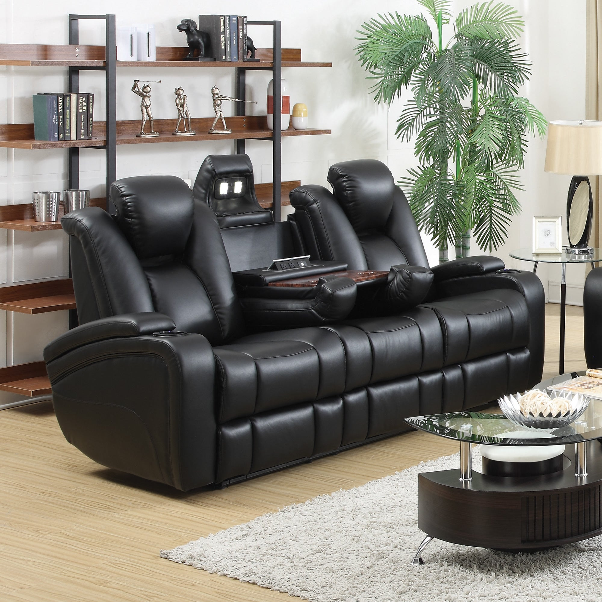 Shop Coaster Company Black Leatherette Power Recliner Motion Sofa   Free  Shipping Today   Overstock.com   12539099
