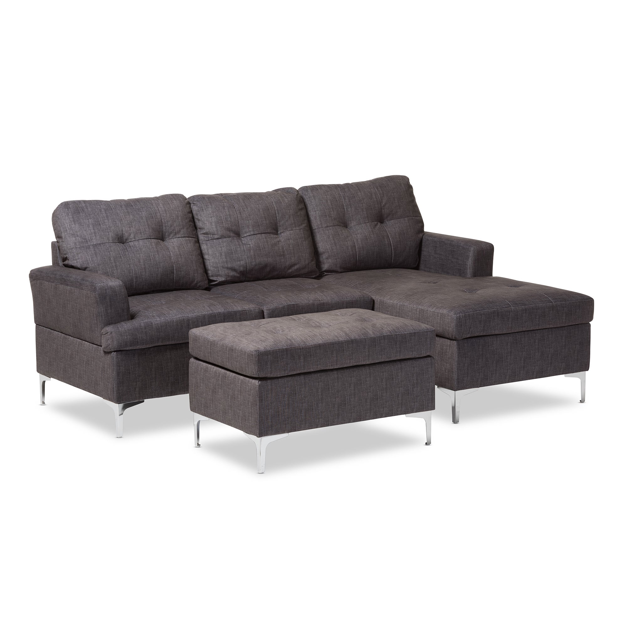 Shop Baxton Studio Haemon Modern And Contemporary Grey Fabric Upholstered  3 Piece Sectional Sofa With Ottoman Set   Free Shipping Today    Overstock.com   ...