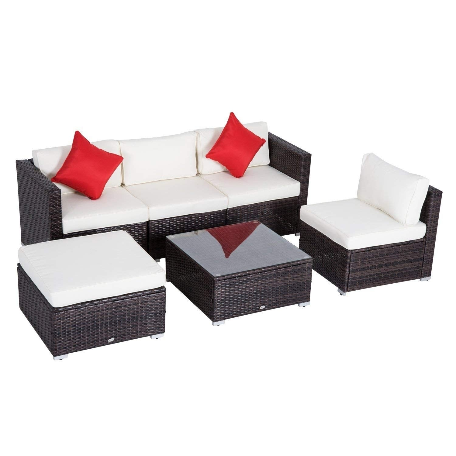Shop Outsunny 6 Pc Outdoor Patio Rattan Wicker Sectional Sofa